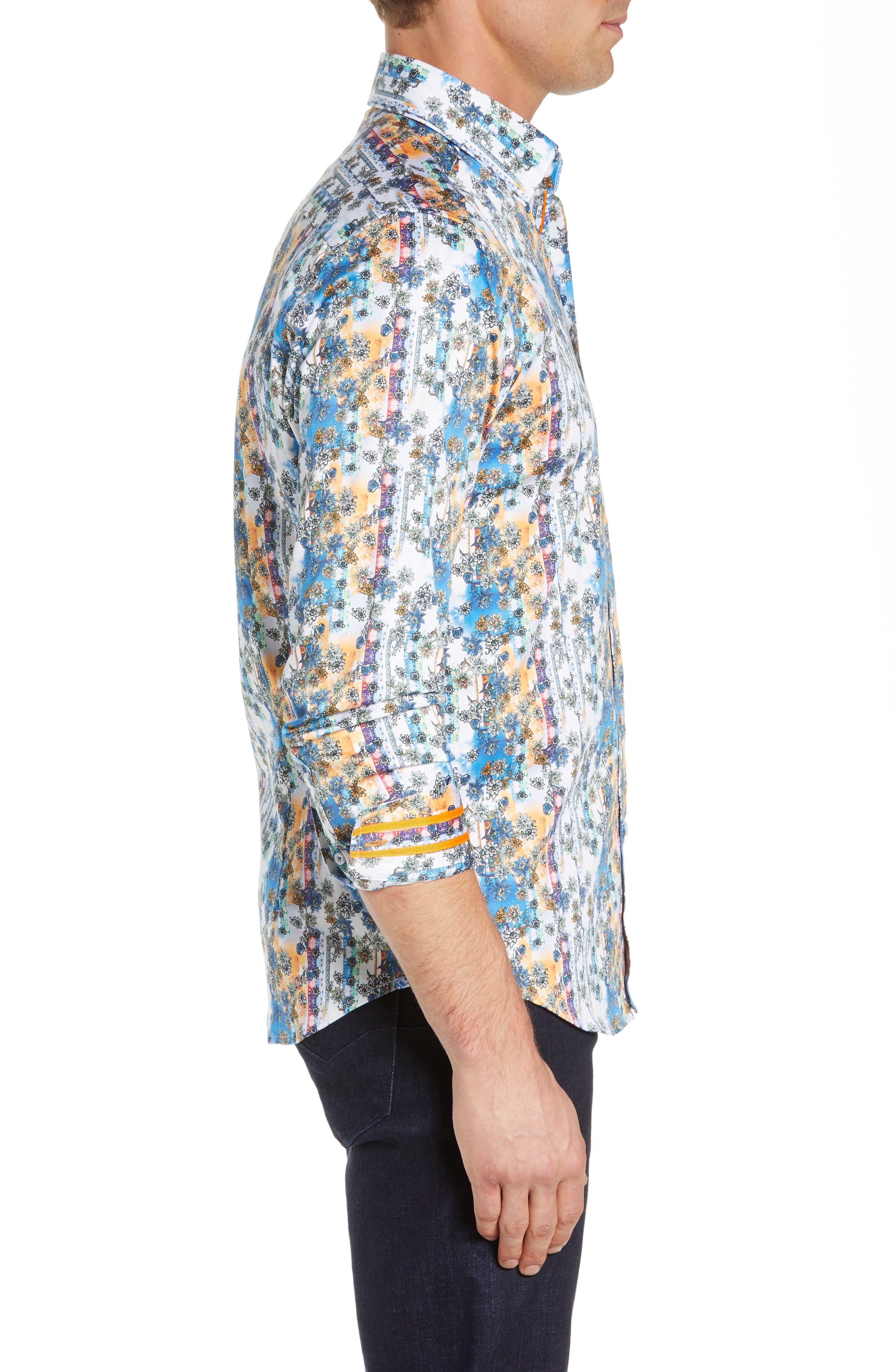 Gaspar Tailored Fit Print Sport Shirt,                             Alternate thumbnail 4, color,                             MULTI ORANGE