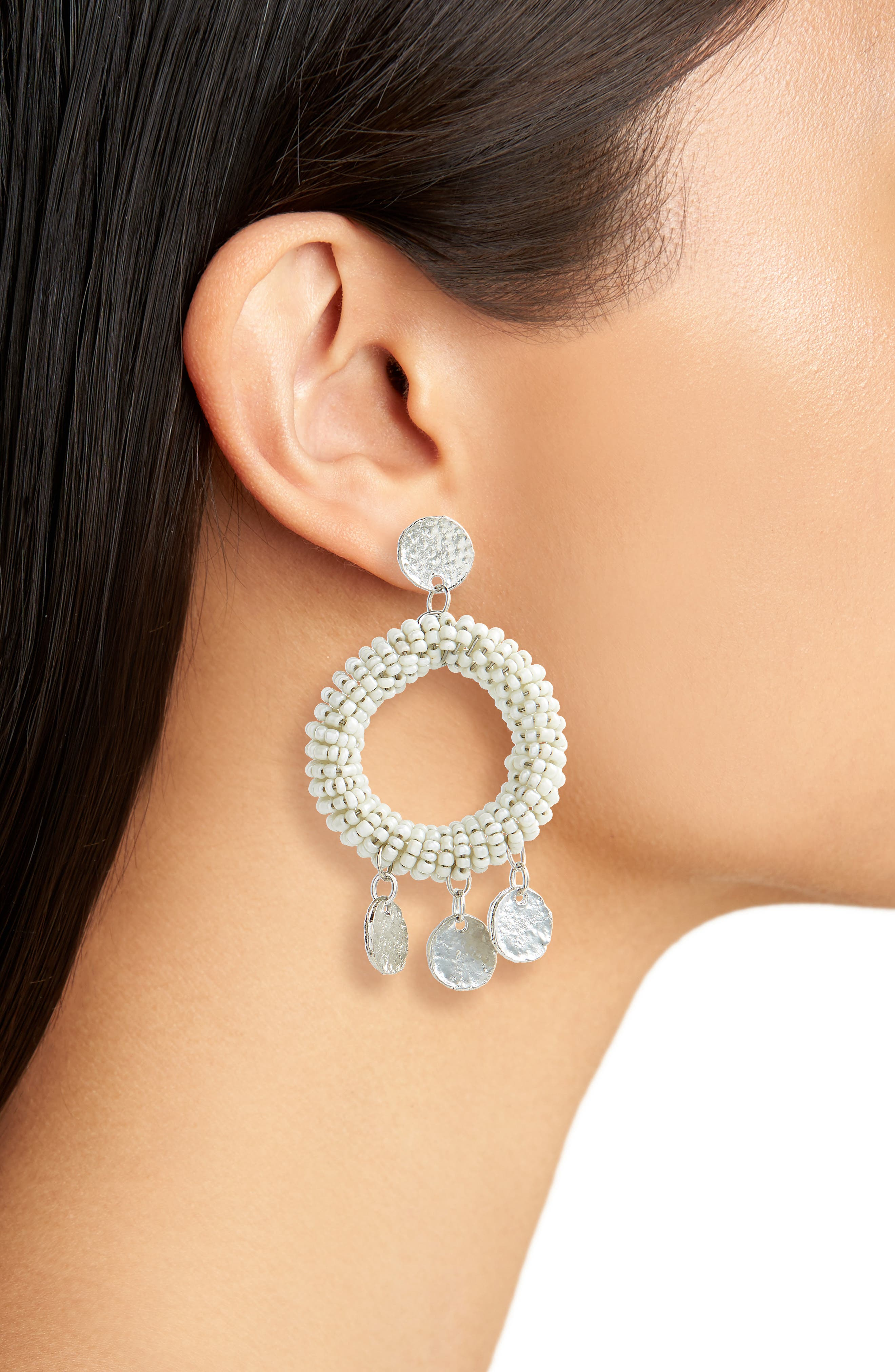 Beaded Hoop Earrings,                             Alternate thumbnail 2, color,                             101