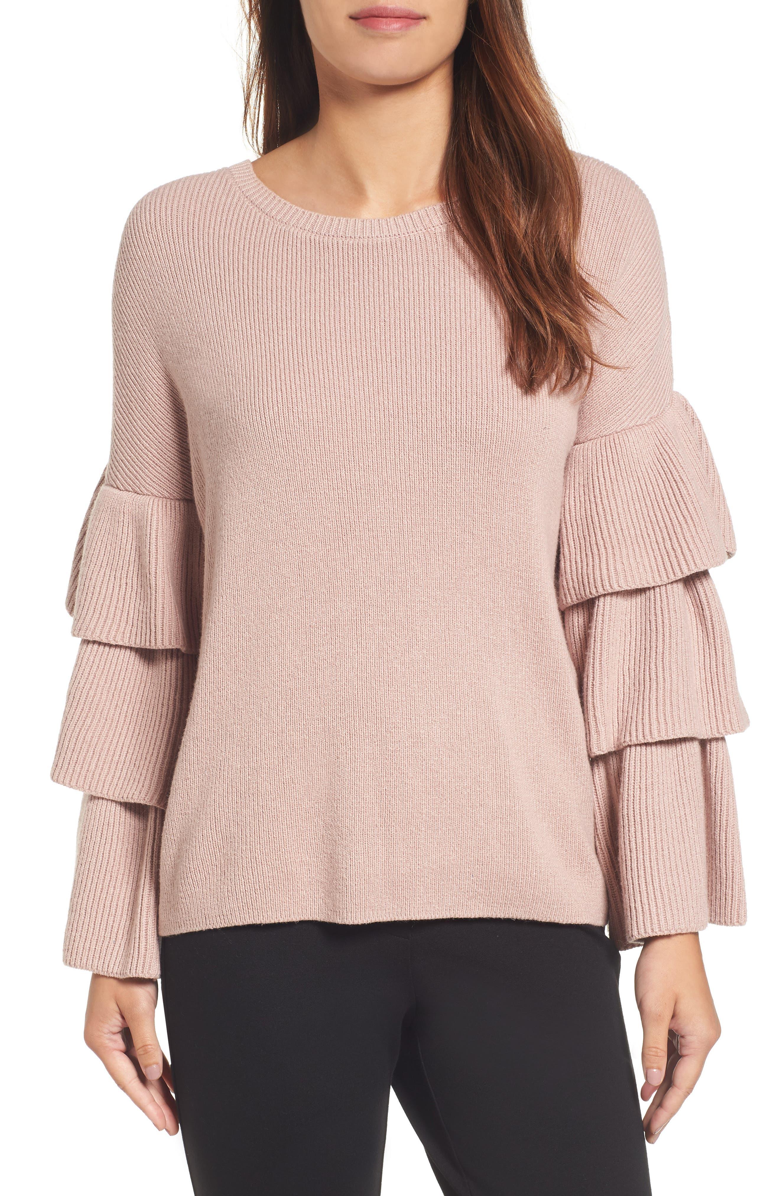 Ruffle Sleeve Sweater,                             Main thumbnail 4, color,