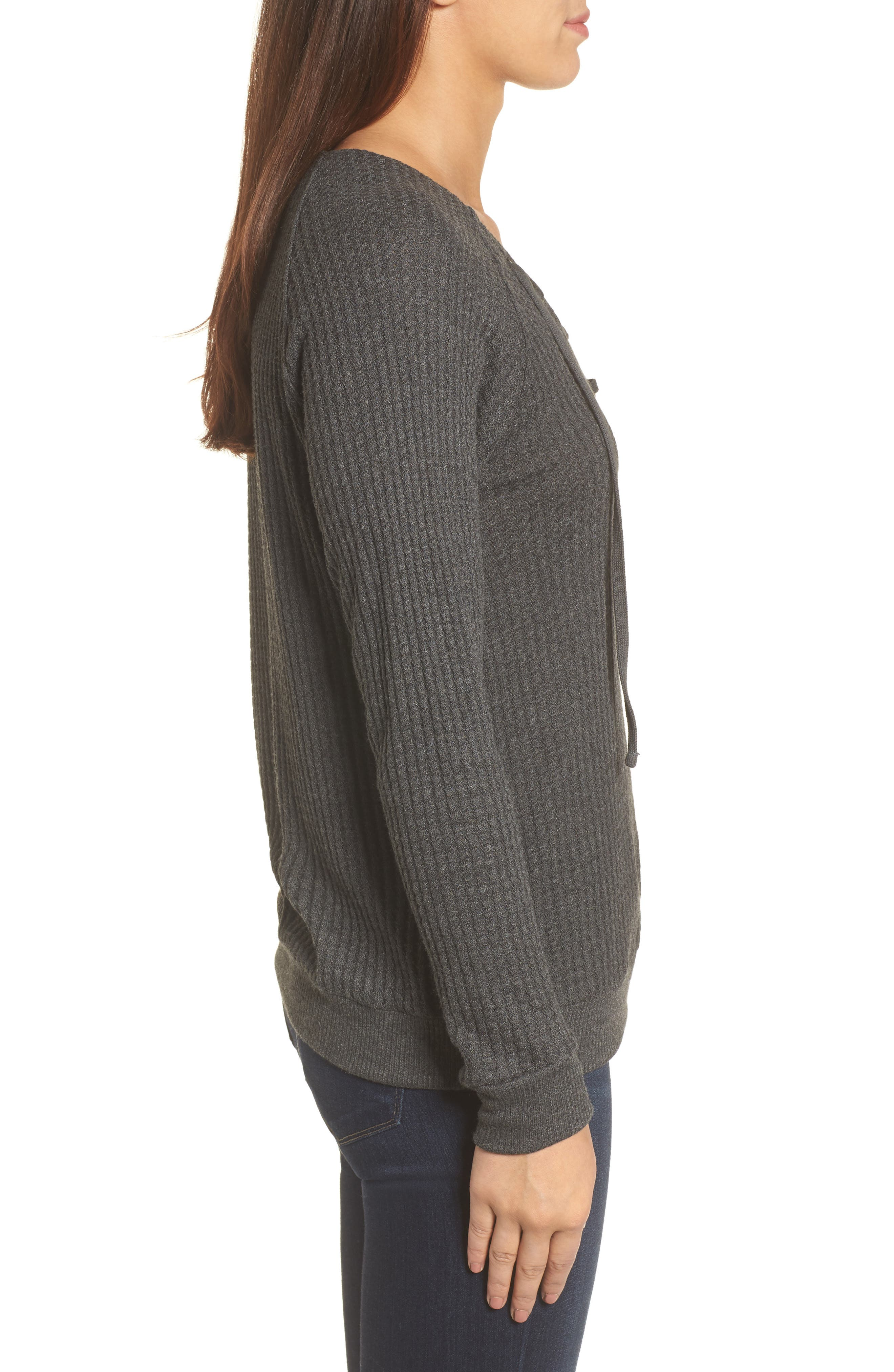 Thermal Knit Lace-Up Top,                             Alternate thumbnail 3, color,                             026
