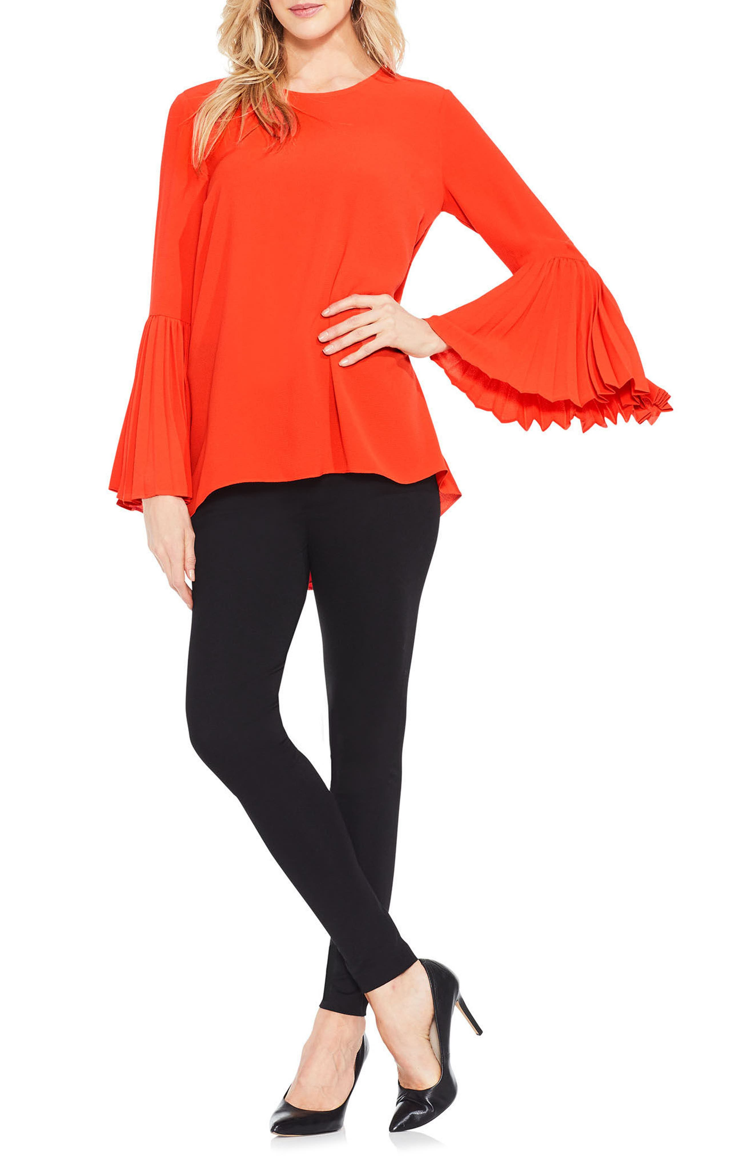 Pleat Bell Sleeve Blouse,                             Main thumbnail 3, color,
