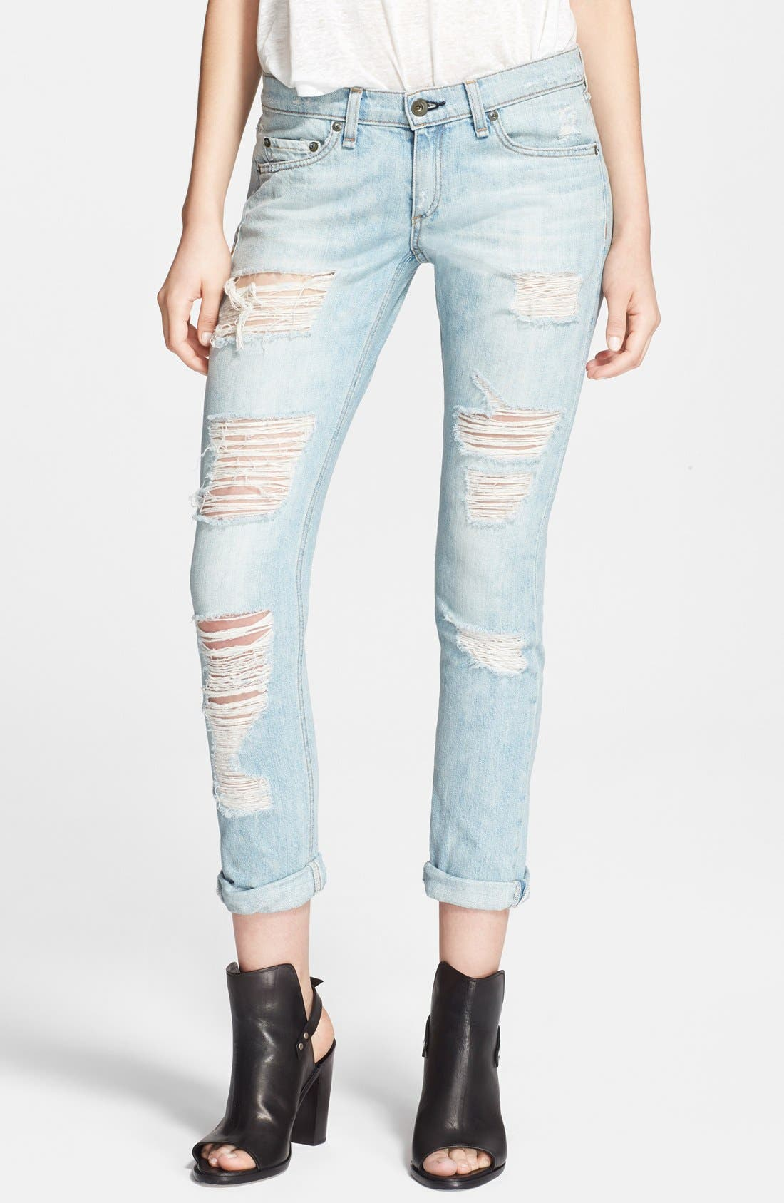'The Dre' Distressed Skinny Boyfriend Jeans,                             Main thumbnail 1, color,                             455