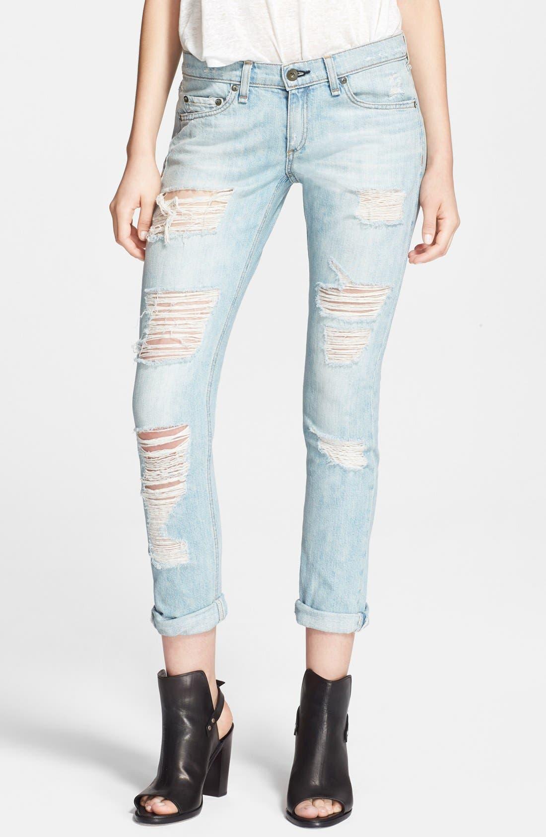 'The Dre' Distressed Skinny Boyfriend Jeans,                         Main,                         color, 455