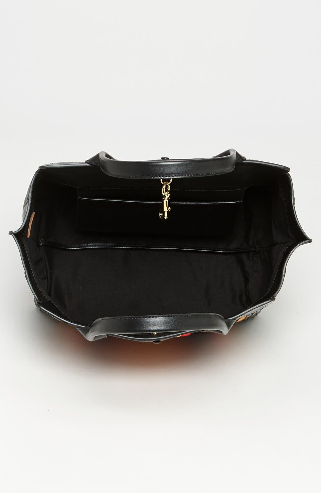 CHLOÉ,                             'Alison - Mini' Stripe Inset Leather Tote,                             Alternate thumbnail 3, color,                             840