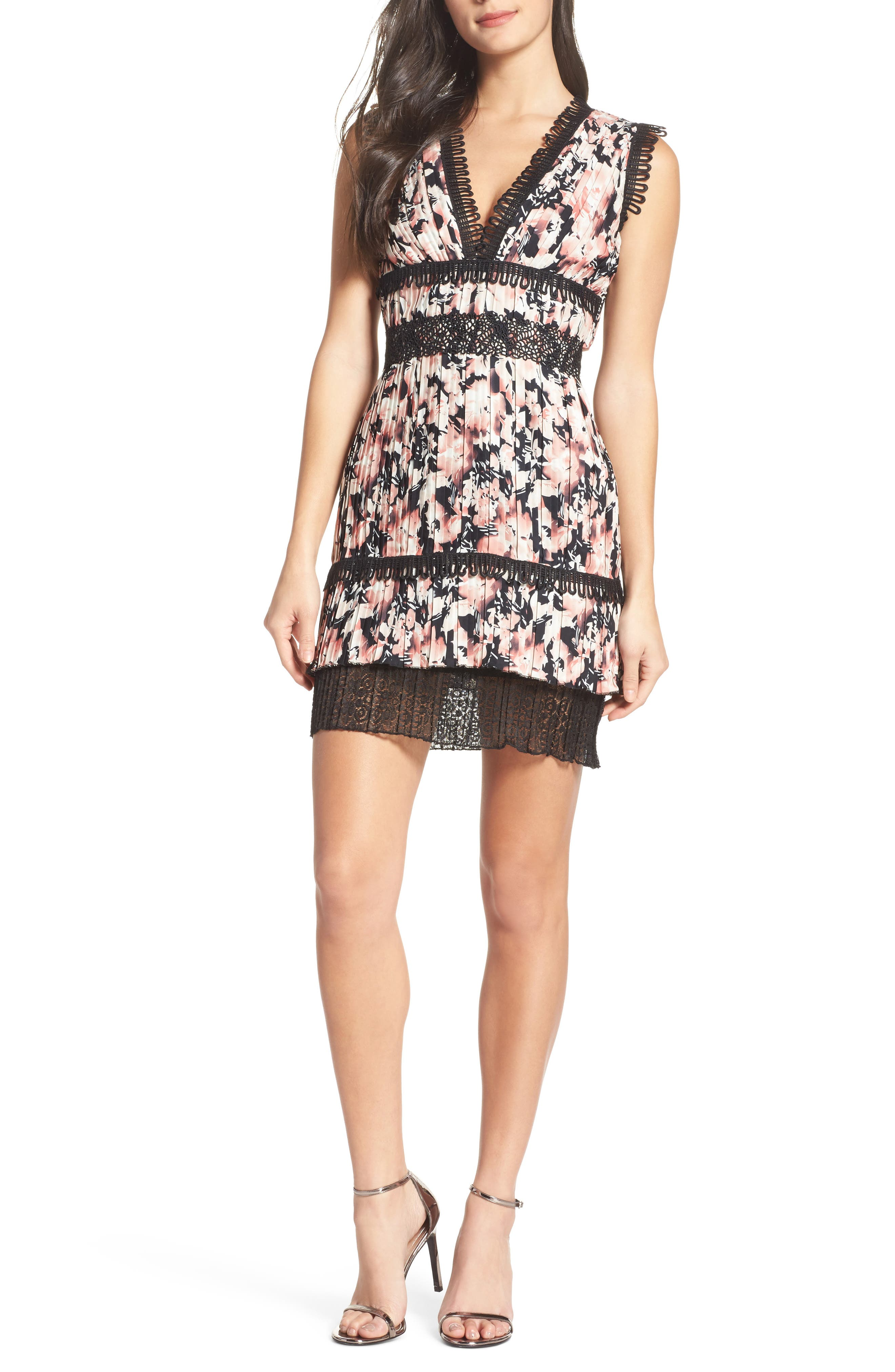 Jasmine Floral Pleated Fit & Flare Dress,                         Main,                         color, 651