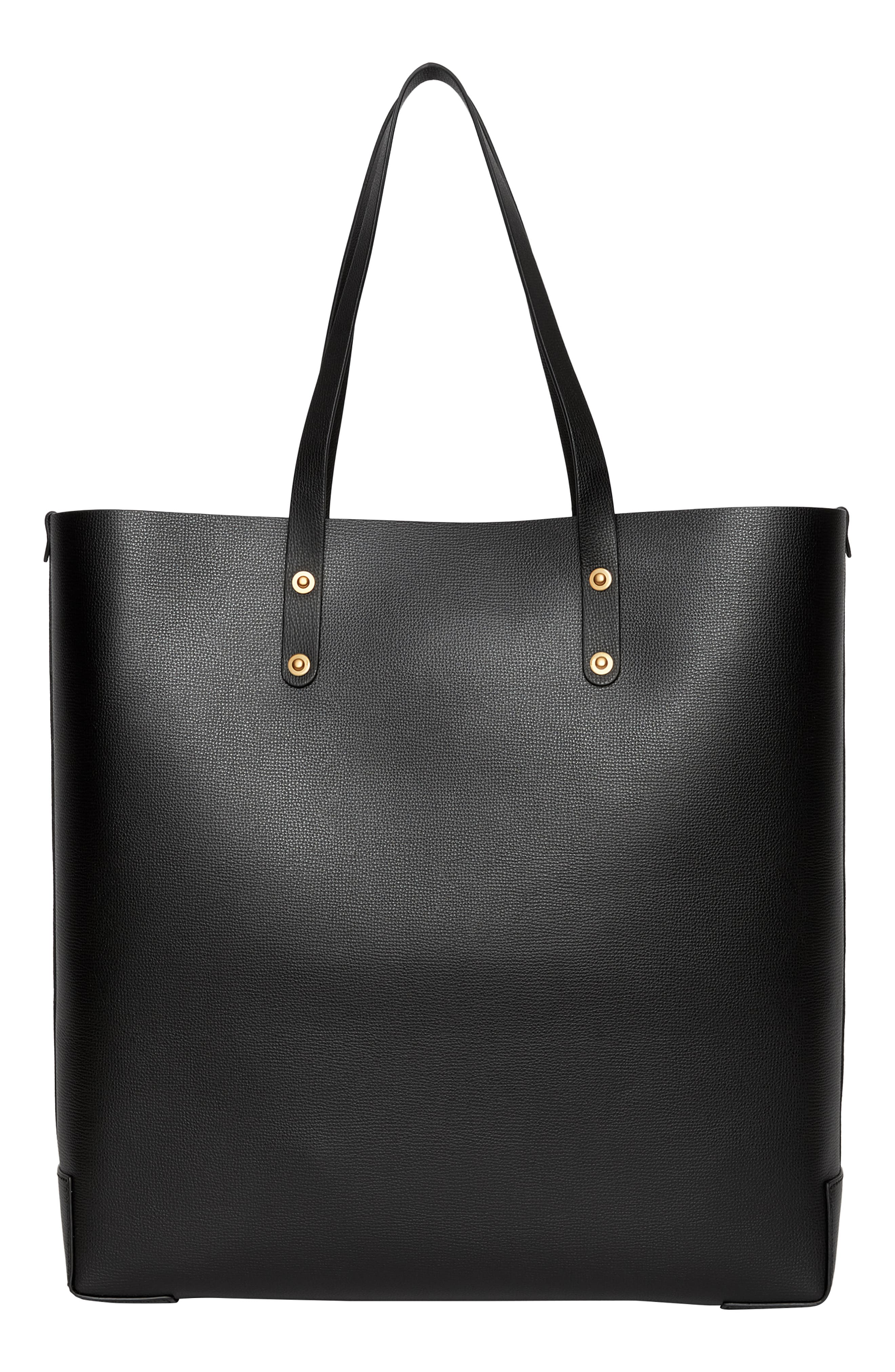 Embossed Crest Large Leather Tote,                             Alternate thumbnail 3, color,                             BLACK