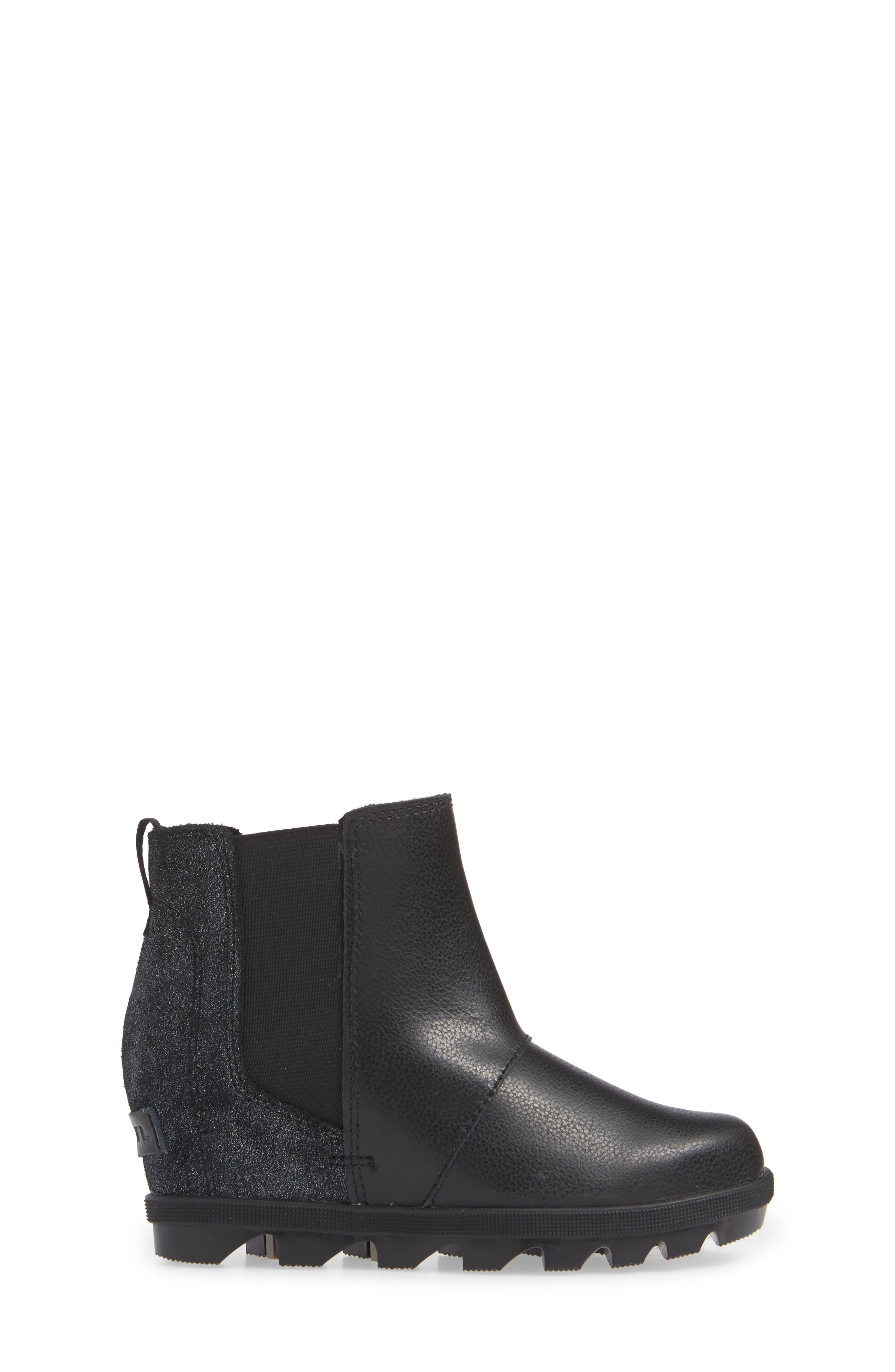 Joan of Arc II Waterproof Wedge Chelsea Boot,                             Alternate thumbnail 3, color,                             BLACK