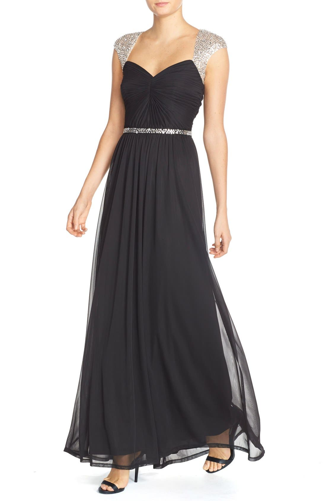 Embellished Ruched Jersey Gown,                             Alternate thumbnail 3, color,                             001