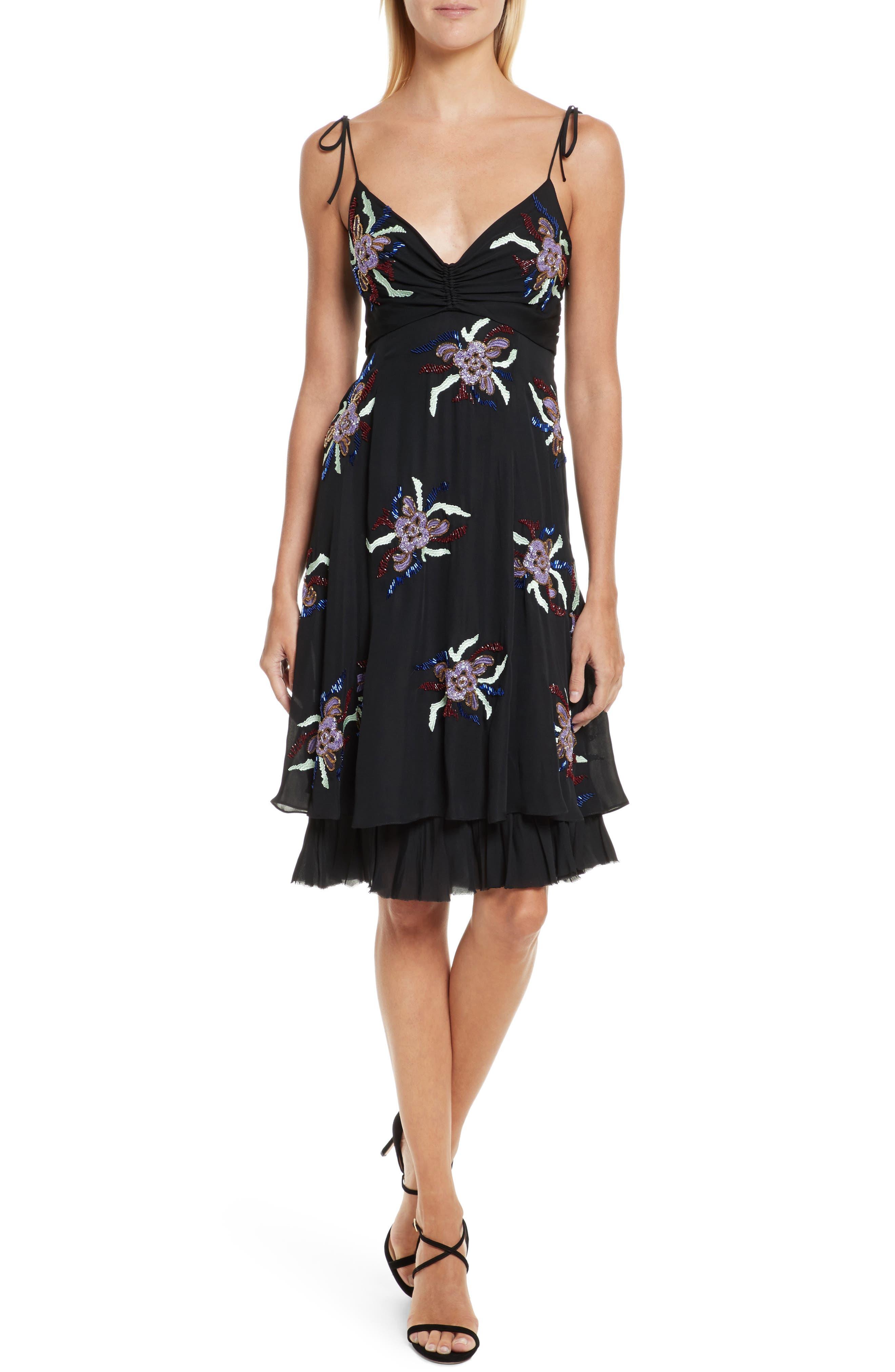 Porsca Embellished Silk Dress,                             Main thumbnail 1, color,                             008