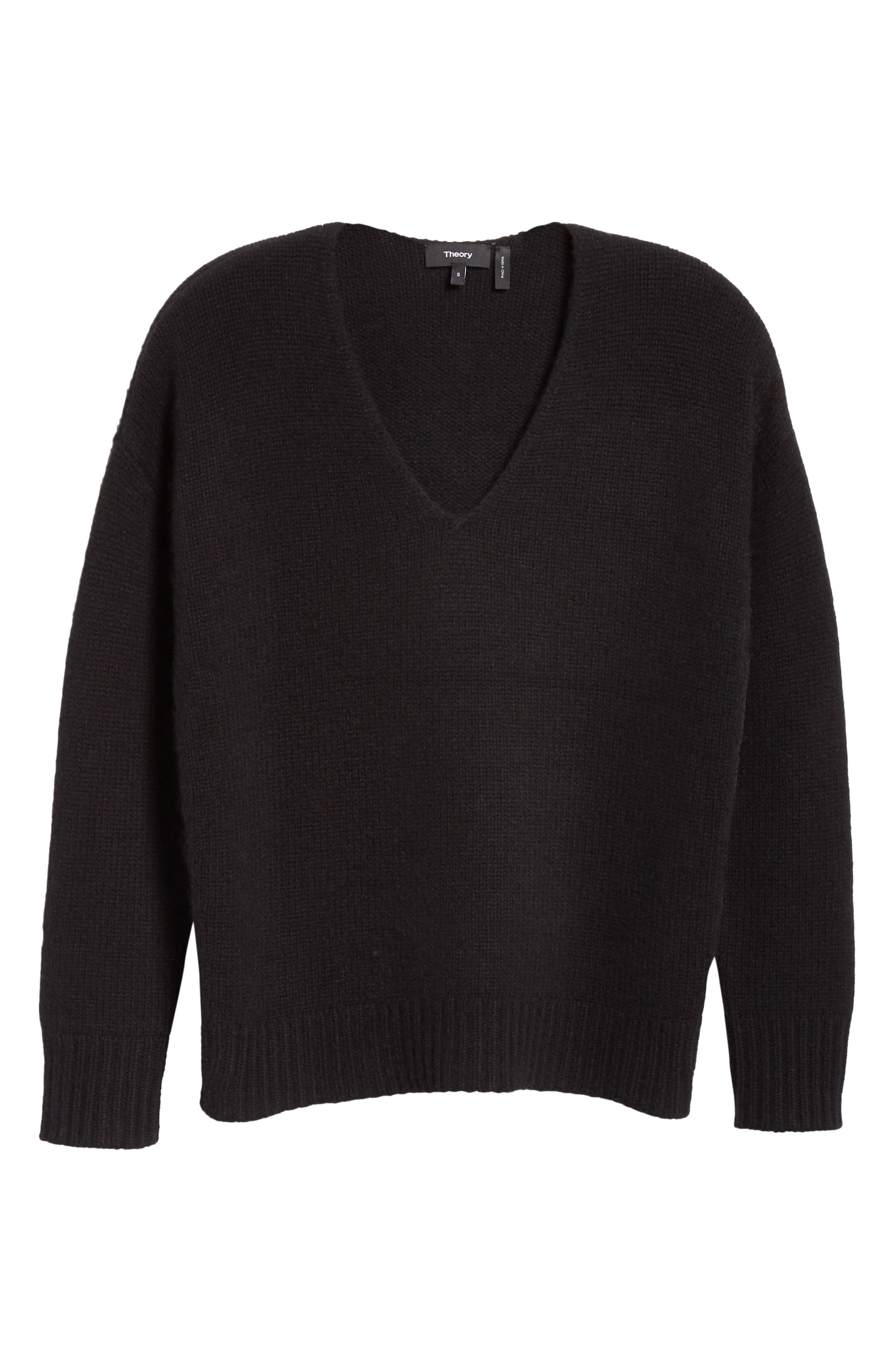 Relaxed Cashmere Sweater,                             Alternate thumbnail 6, color,                             BLACK