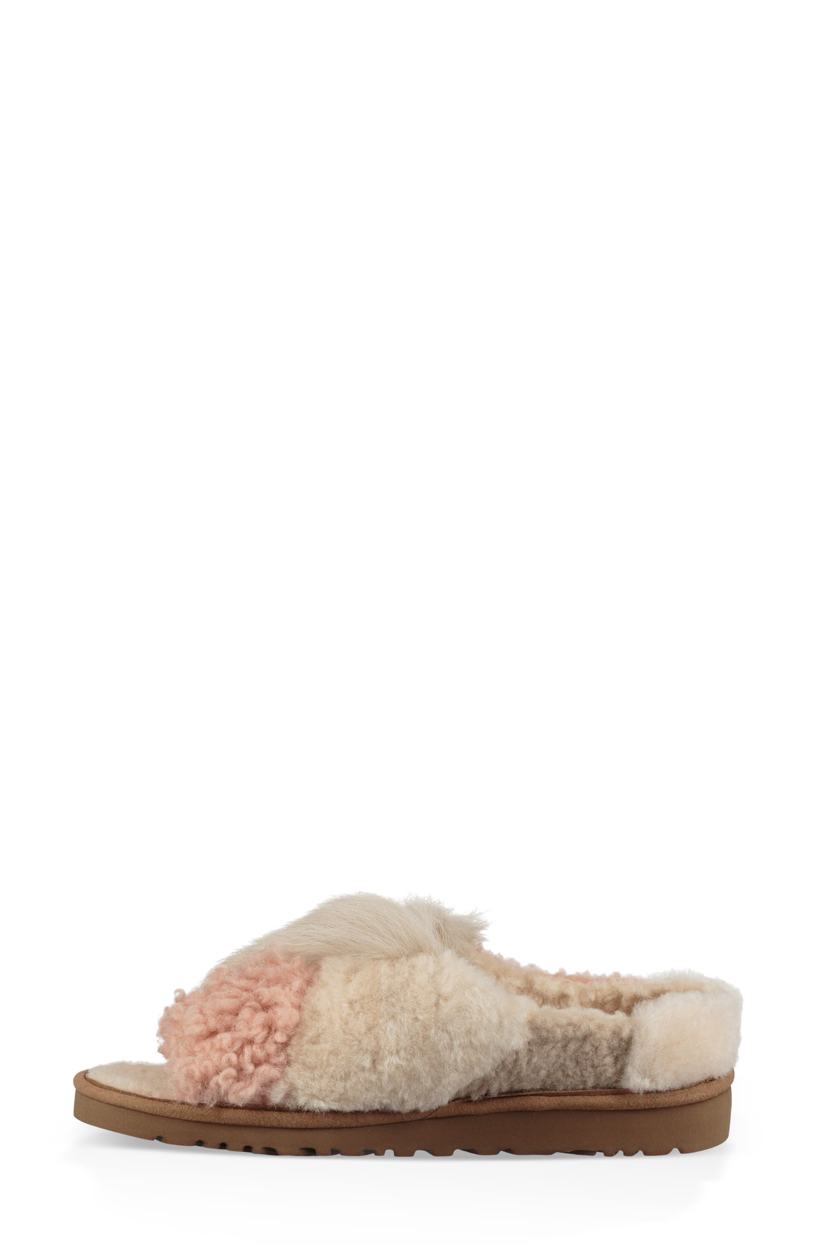 Patchwork Fluff Slipper,                             Alternate thumbnail 6, color,                             CHESTNUT