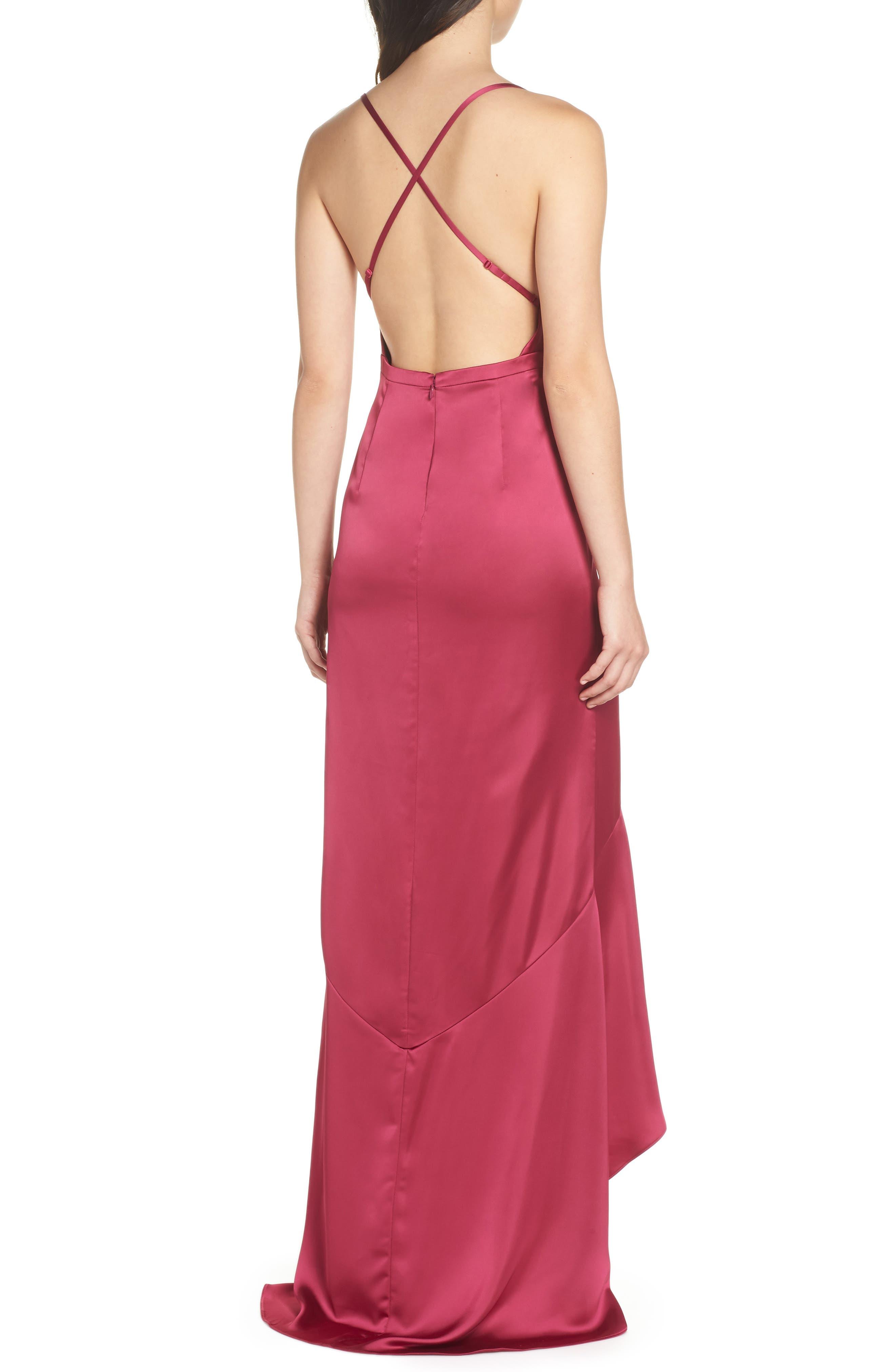 Satin High/Low Faux Wrap Gown,                             Alternate thumbnail 2, color,                             601