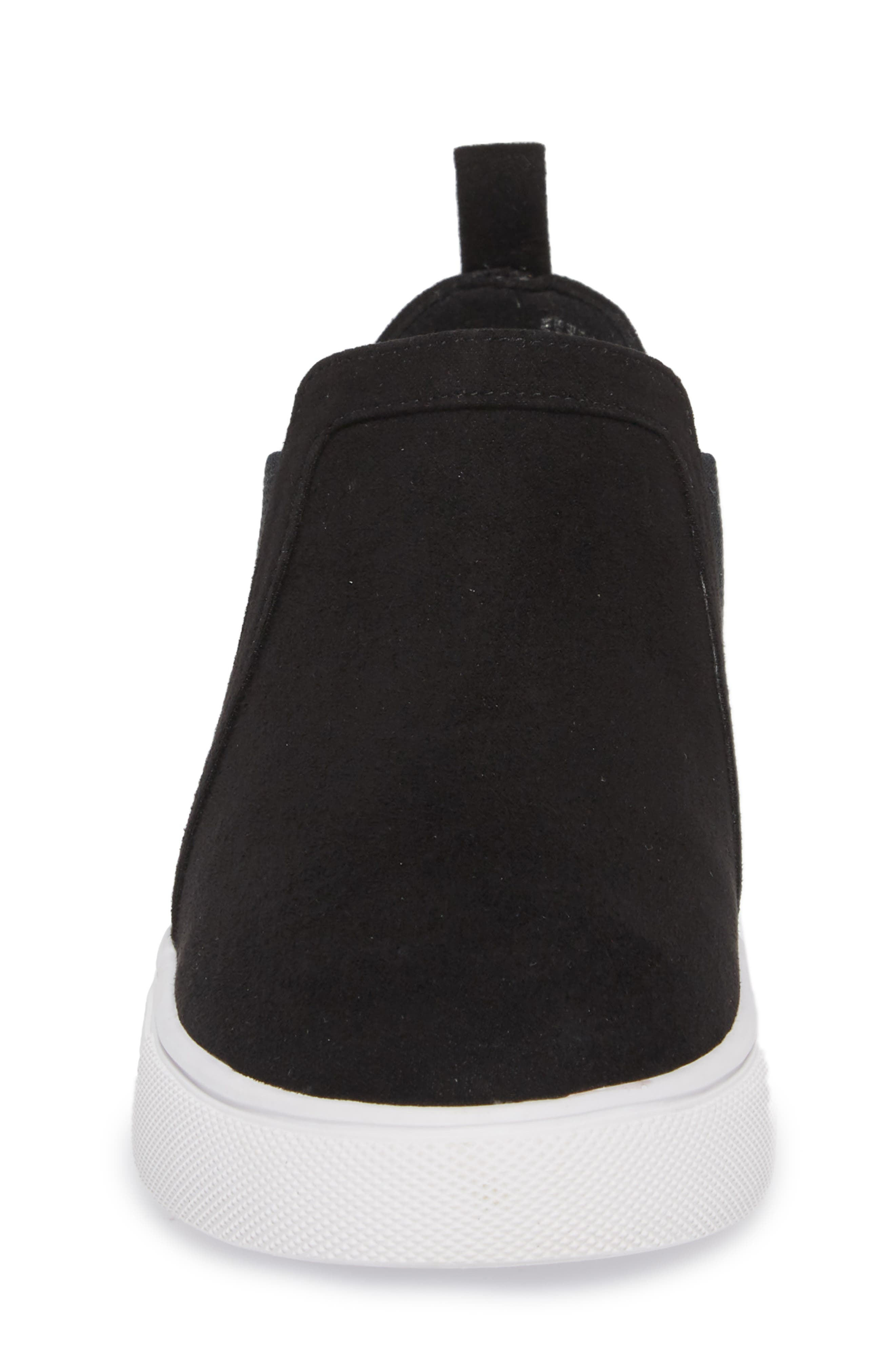 Scarlett Sneaker,                             Alternate thumbnail 4, color,                             BLACK FAUX SUEDE