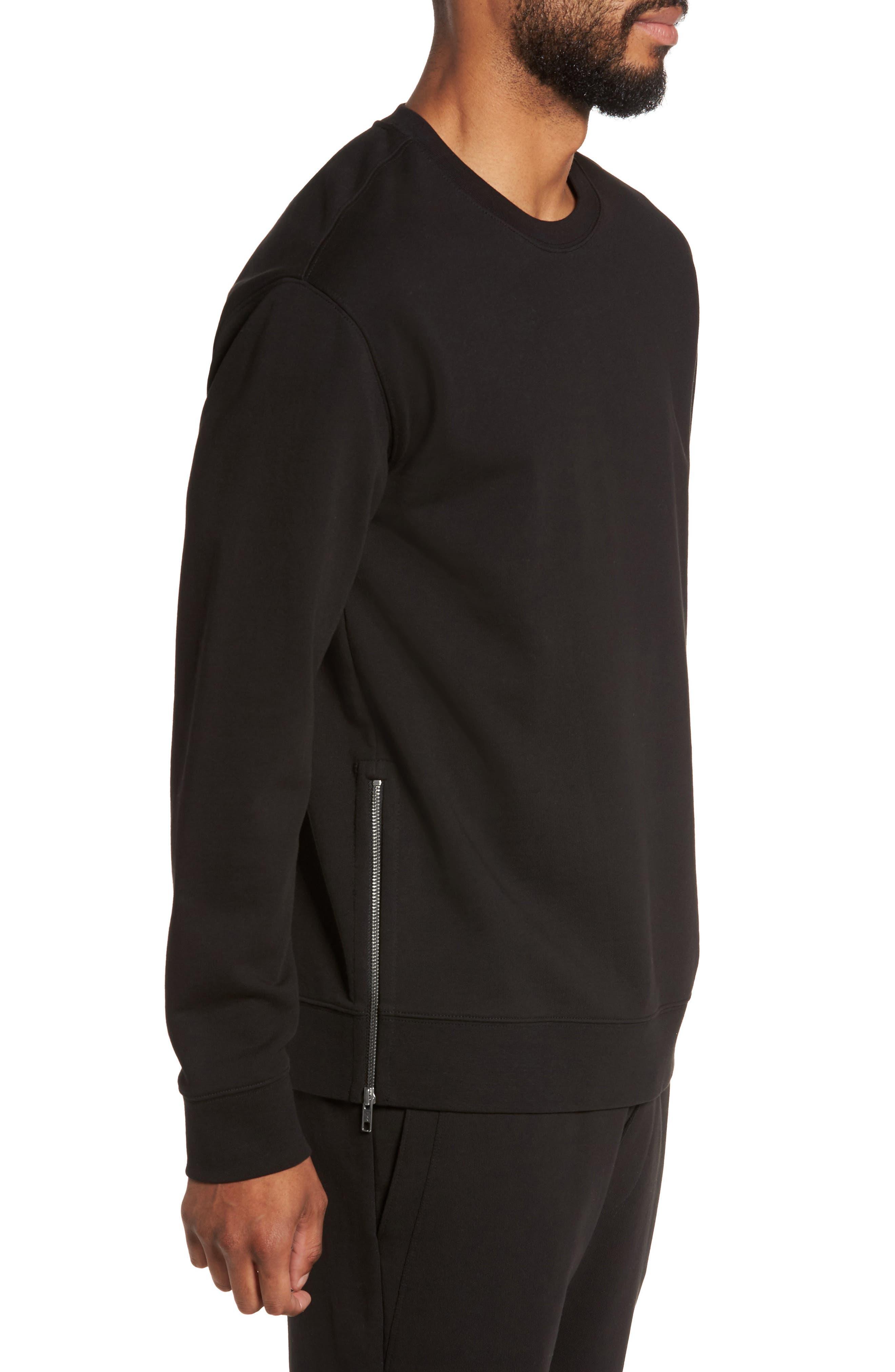 Side Zip Crewneck Sweatshirt,                             Alternate thumbnail 3, color,                             001