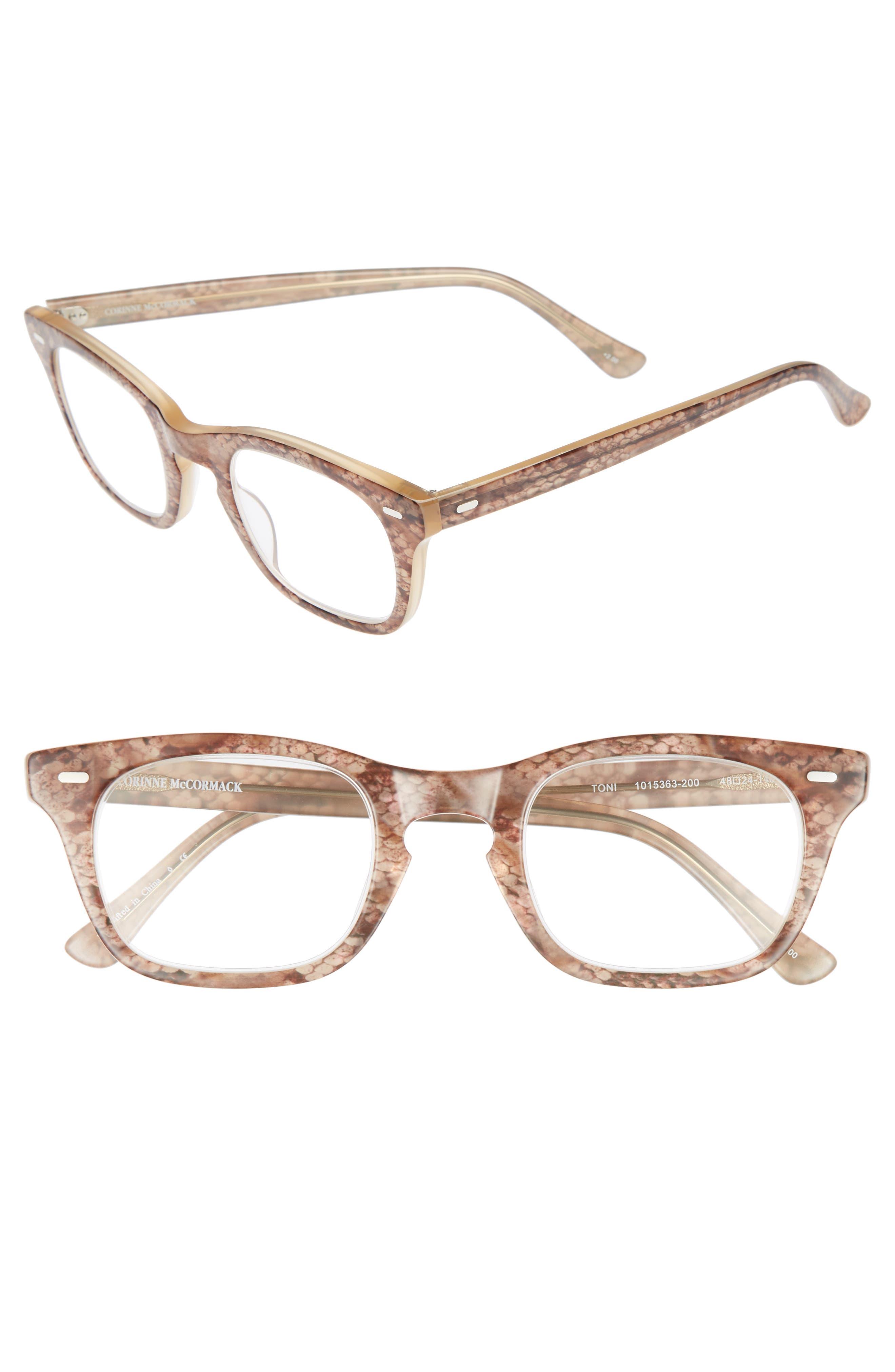 'Toni' 48mm Reading Glasses,                         Main,                         color, BROWN SNAKE