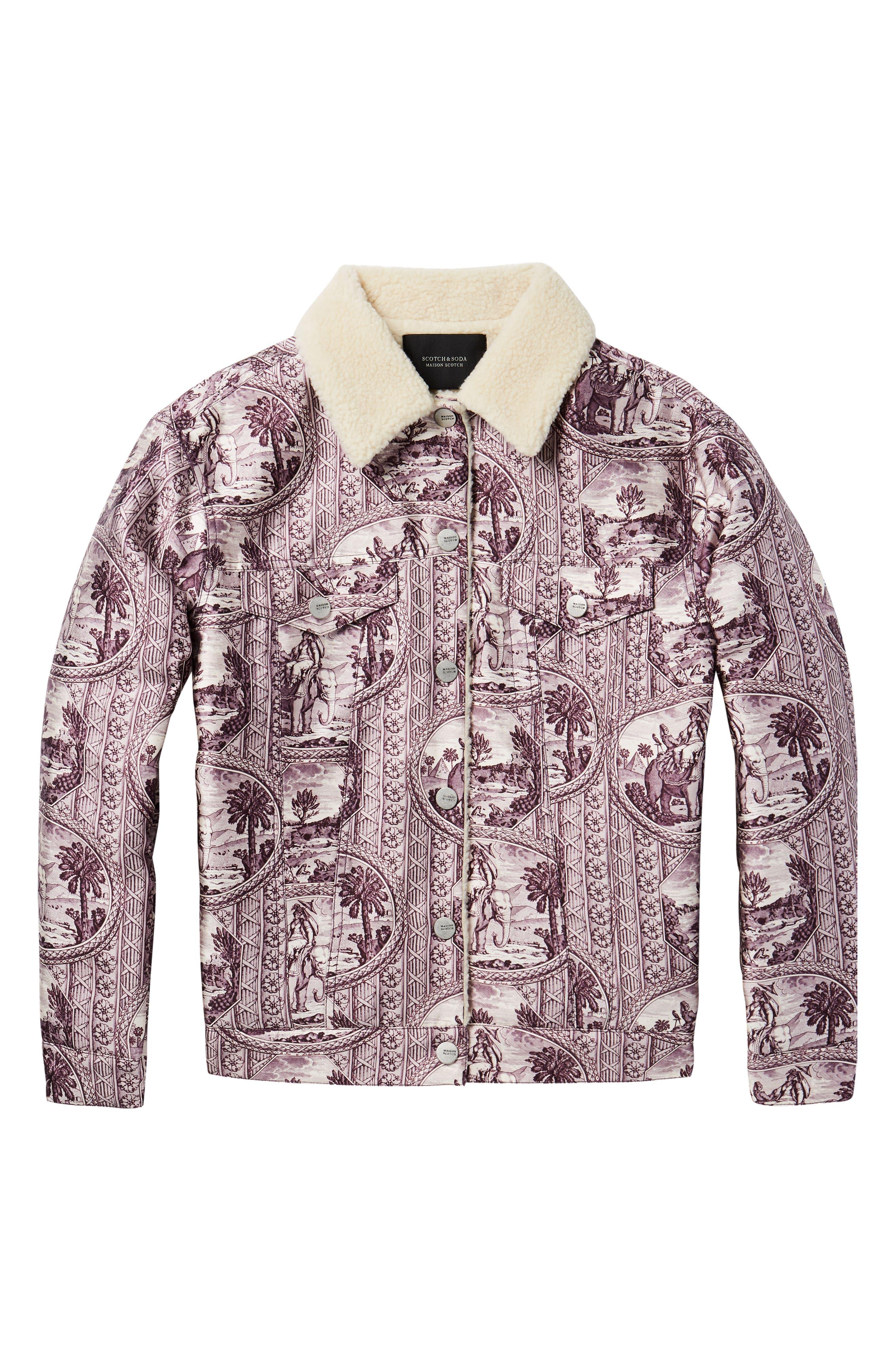 Fleece Lined Print Trucker Jacket,                             Alternate thumbnail 6, color,                             LILAC ELEPHANT PRINT