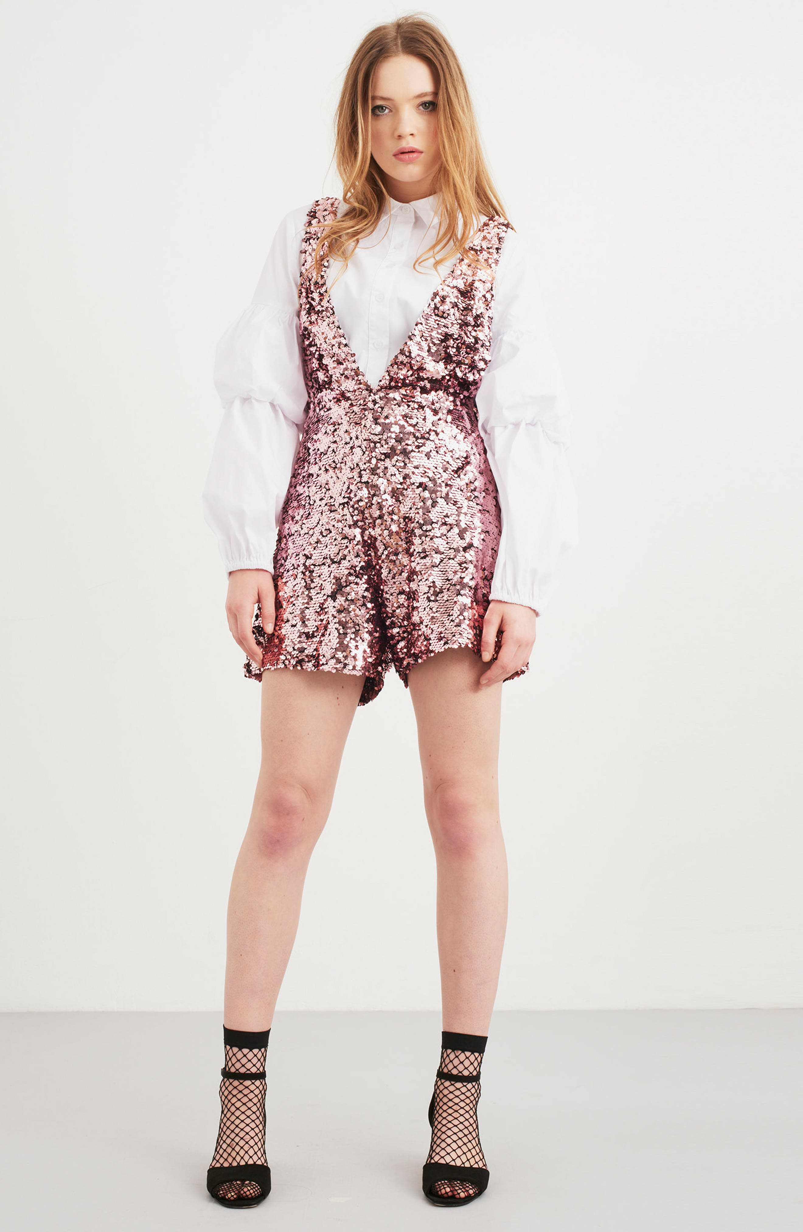 LOST INK,                             Sequin Romper,                             Alternate thumbnail 7, color,                             650
