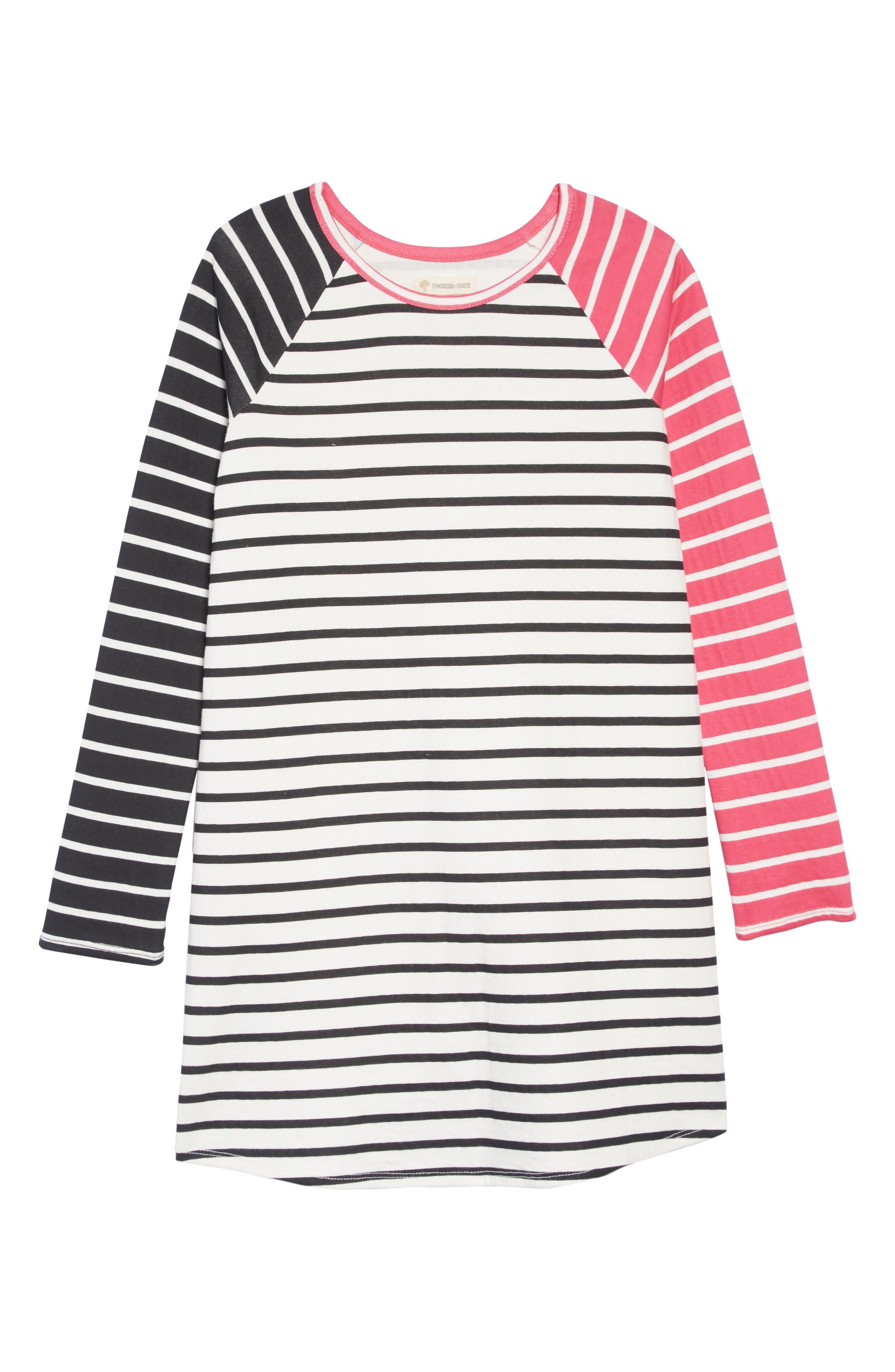 Stripe Dress,                         Main,                         color, IVORY EGRET MULTI STRIPE