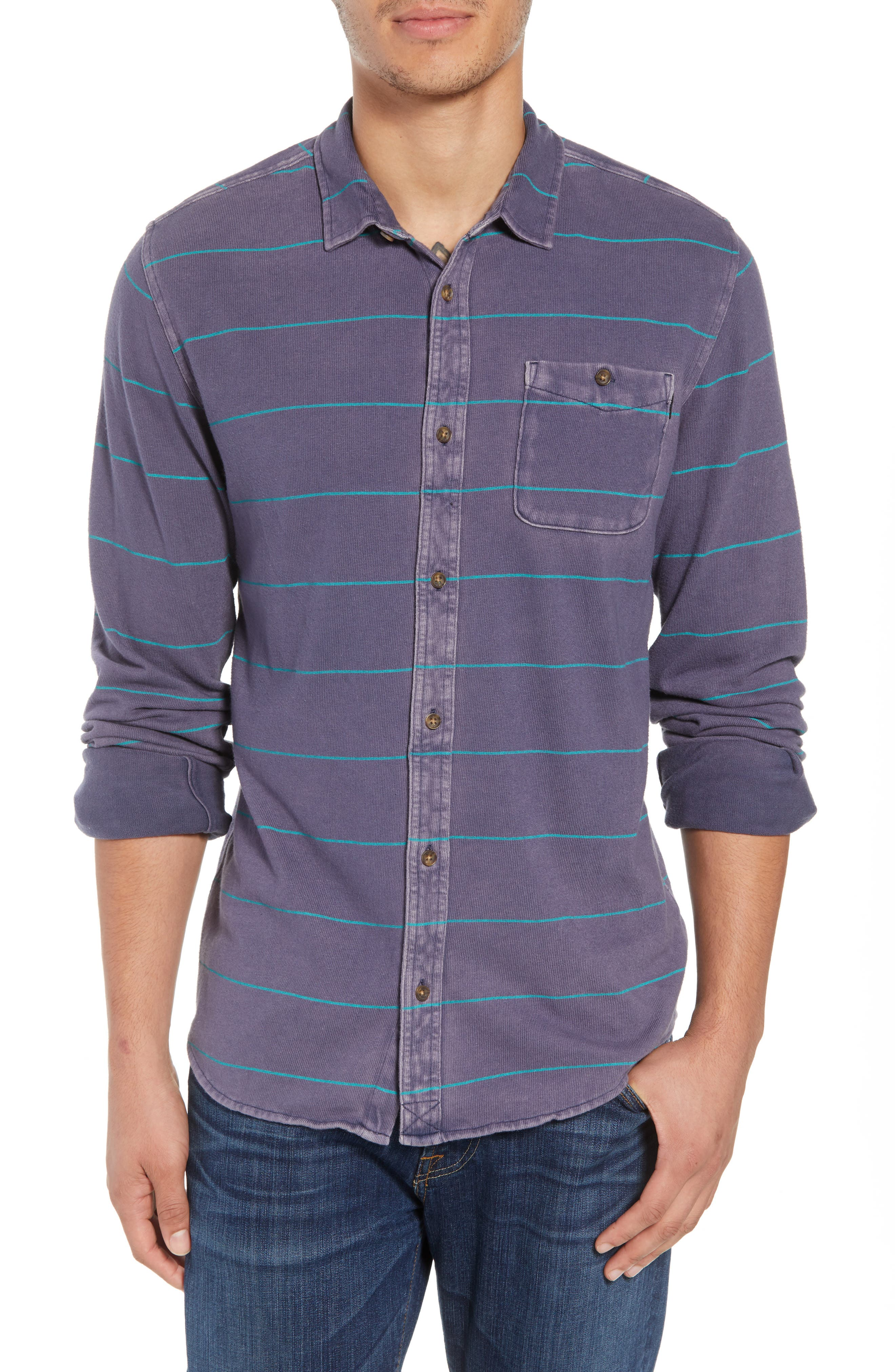 Cowell Knit Button-Up Shirt,                             Main thumbnail 1, color,                             NAVY