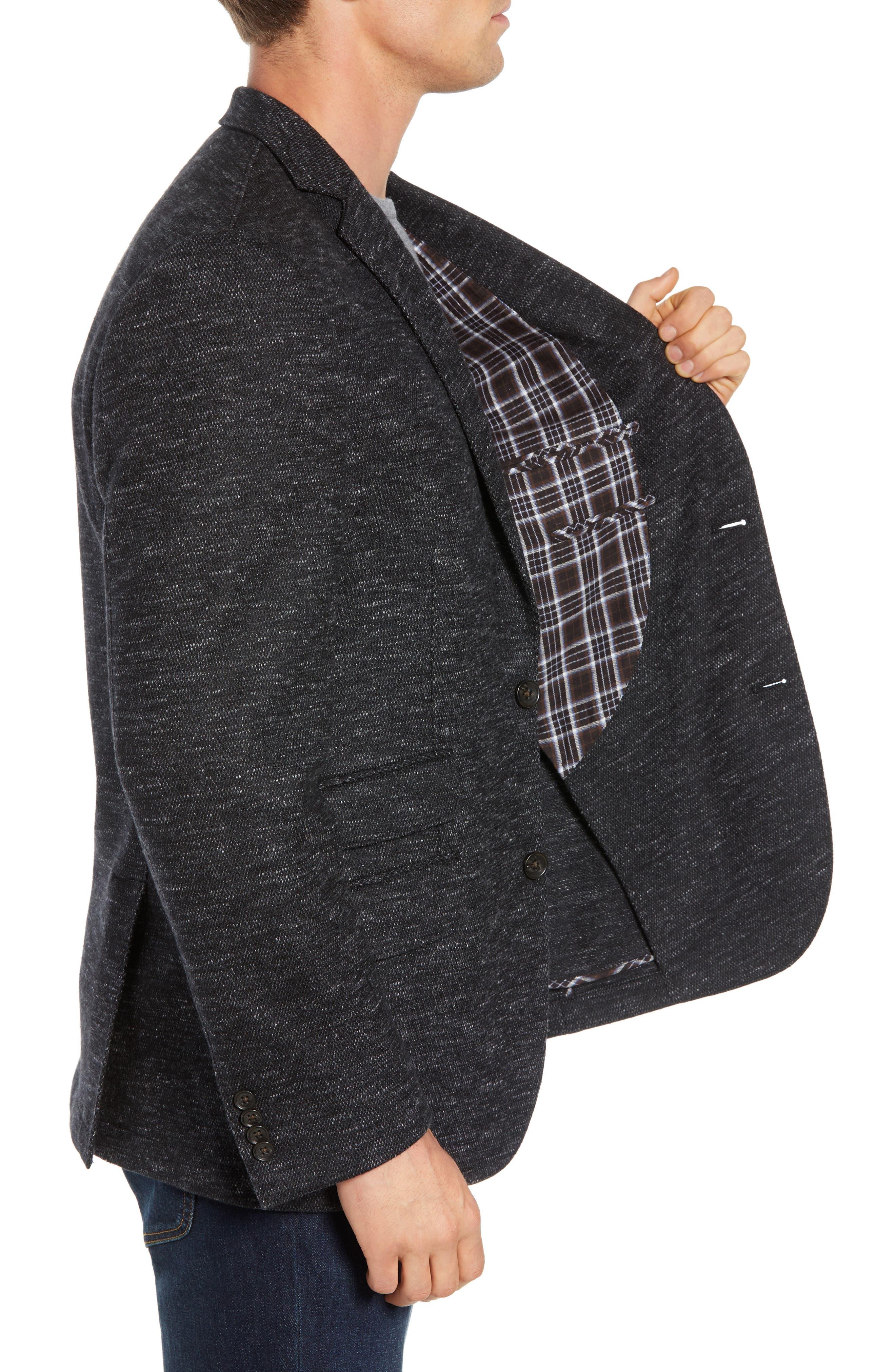 Regular Fit Knit Wool Blend Sport Coat,                             Alternate thumbnail 3, color,                             CHARCOAL