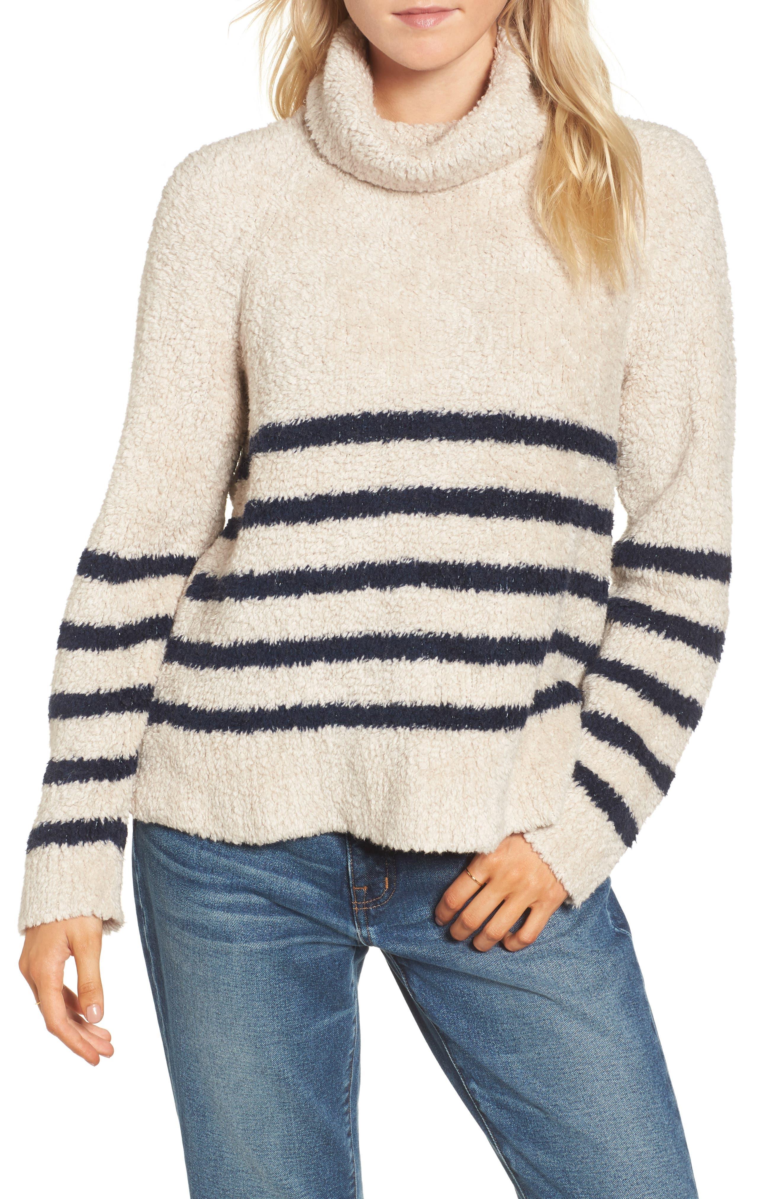 Mariner Stripe Turtleneck Sweater,                         Main,                         color, 090