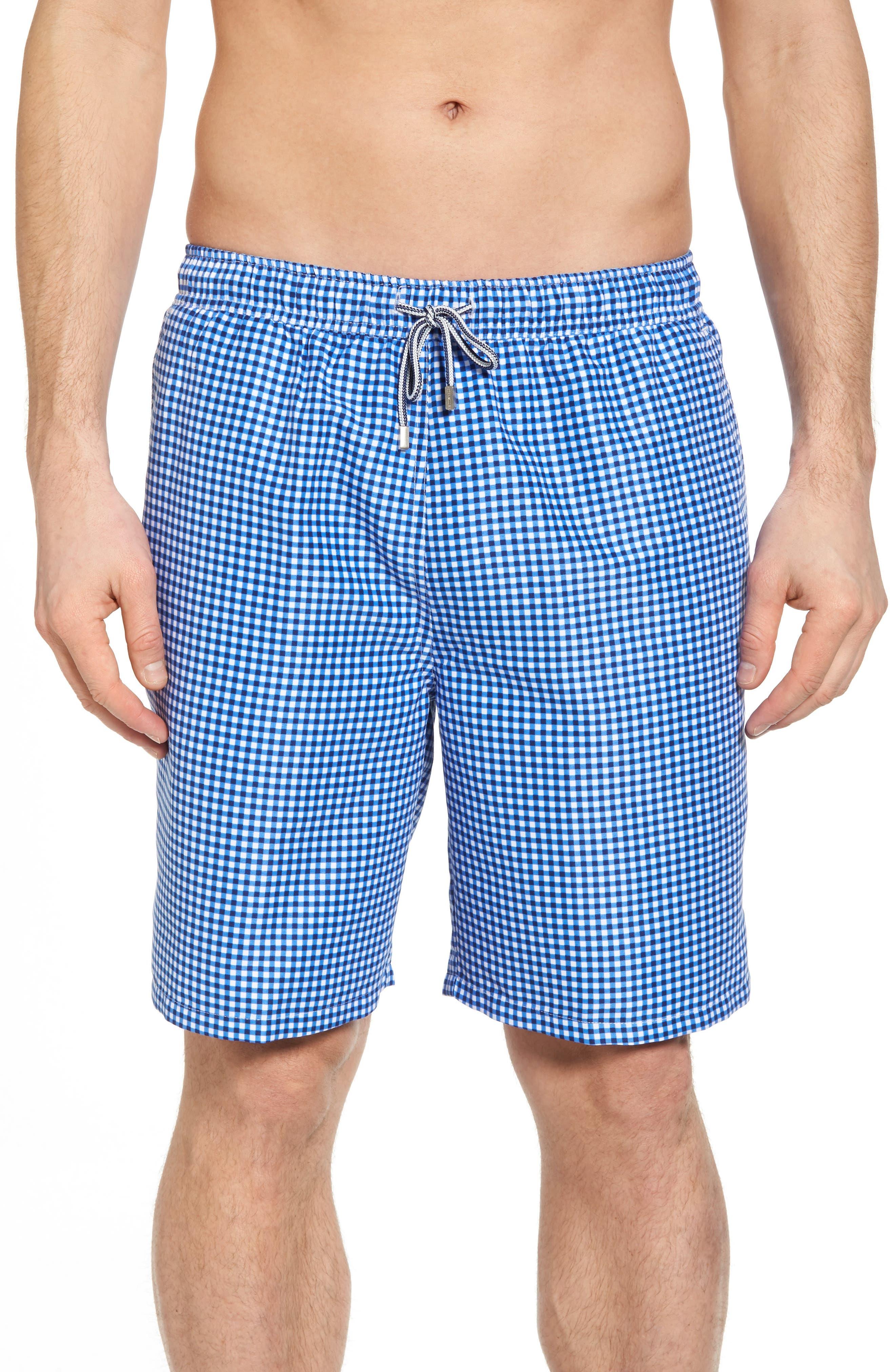 Gingham Style Swim Trunks,                         Main,                         color, ATLANTIC BLUE