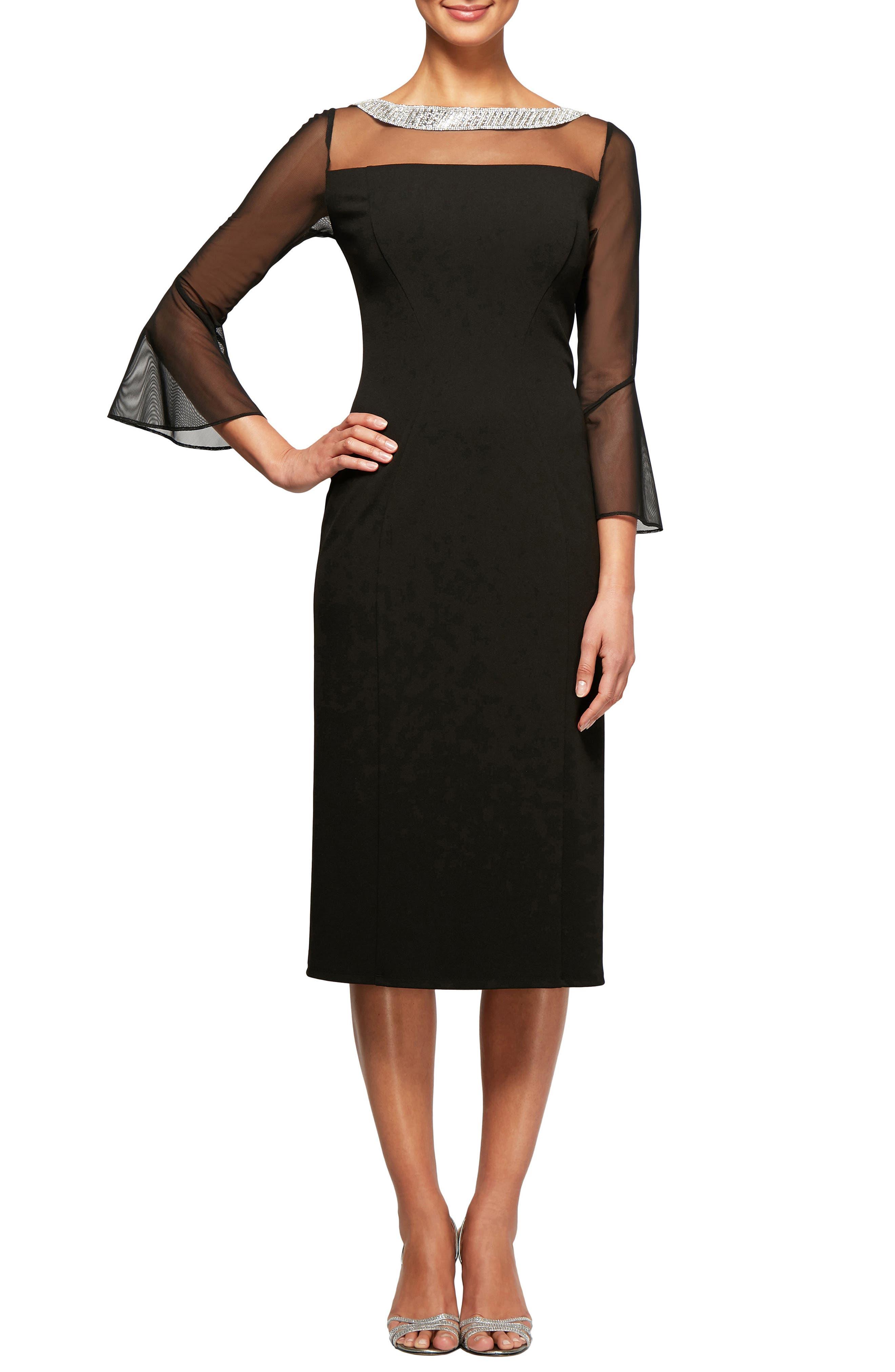 Embellished Shift Dress,                             Alternate thumbnail 3, color,                             BLACK