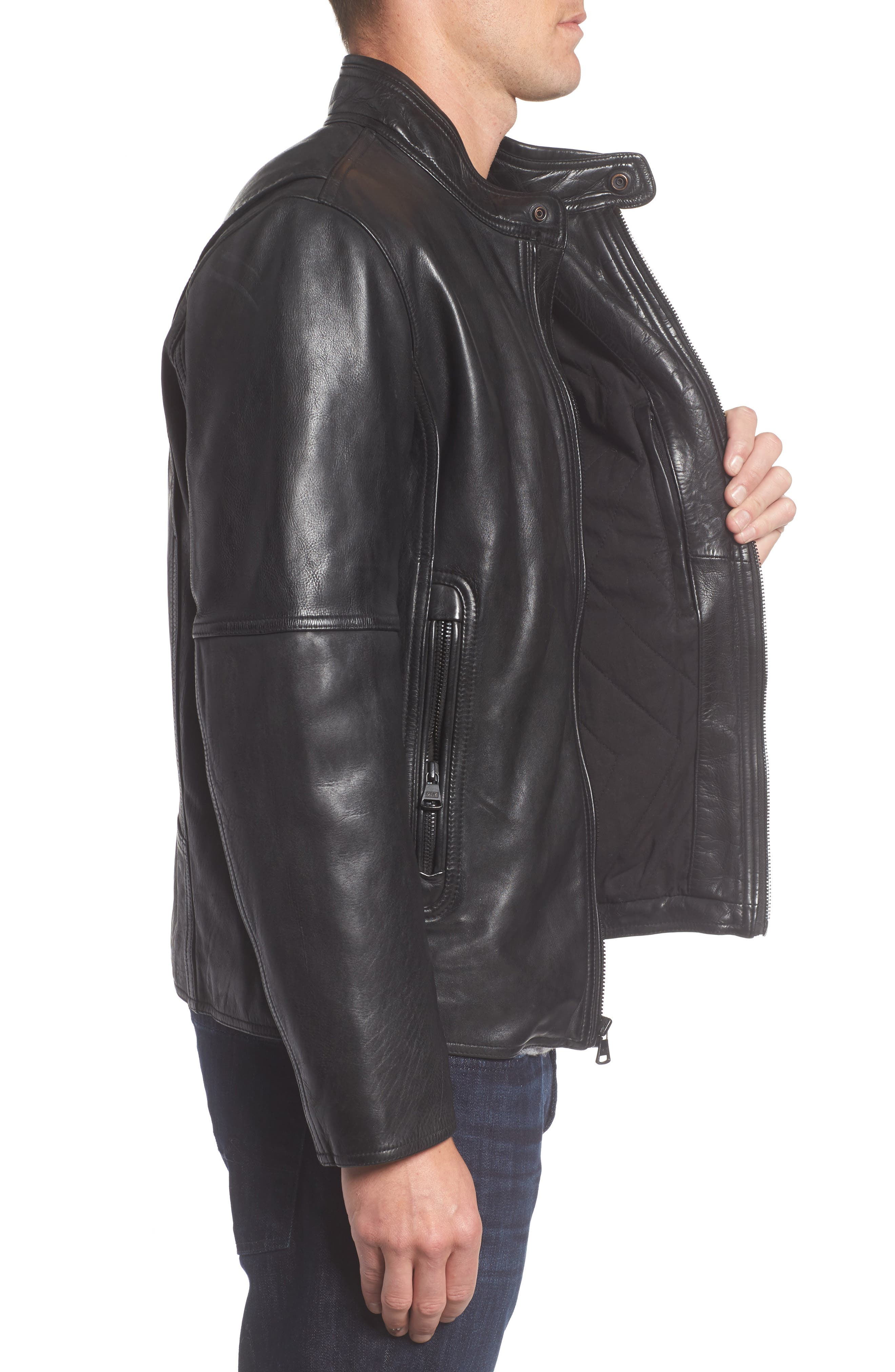 Calfskin Leather Moto Jacket,                             Alternate thumbnail 3, color,                             001