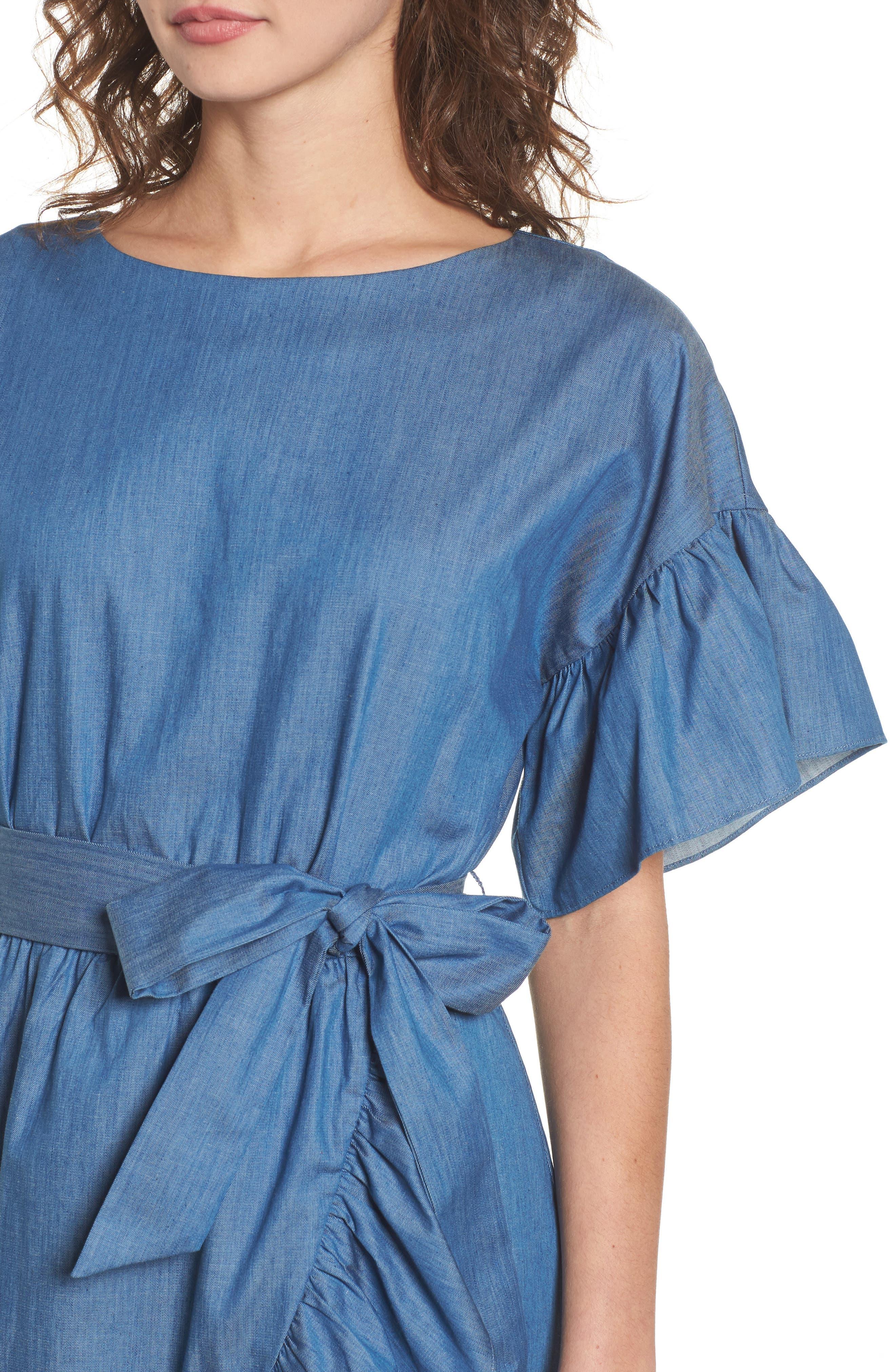 Ruffle Denim Wrap Dress,                             Alternate thumbnail 4, color,                             405