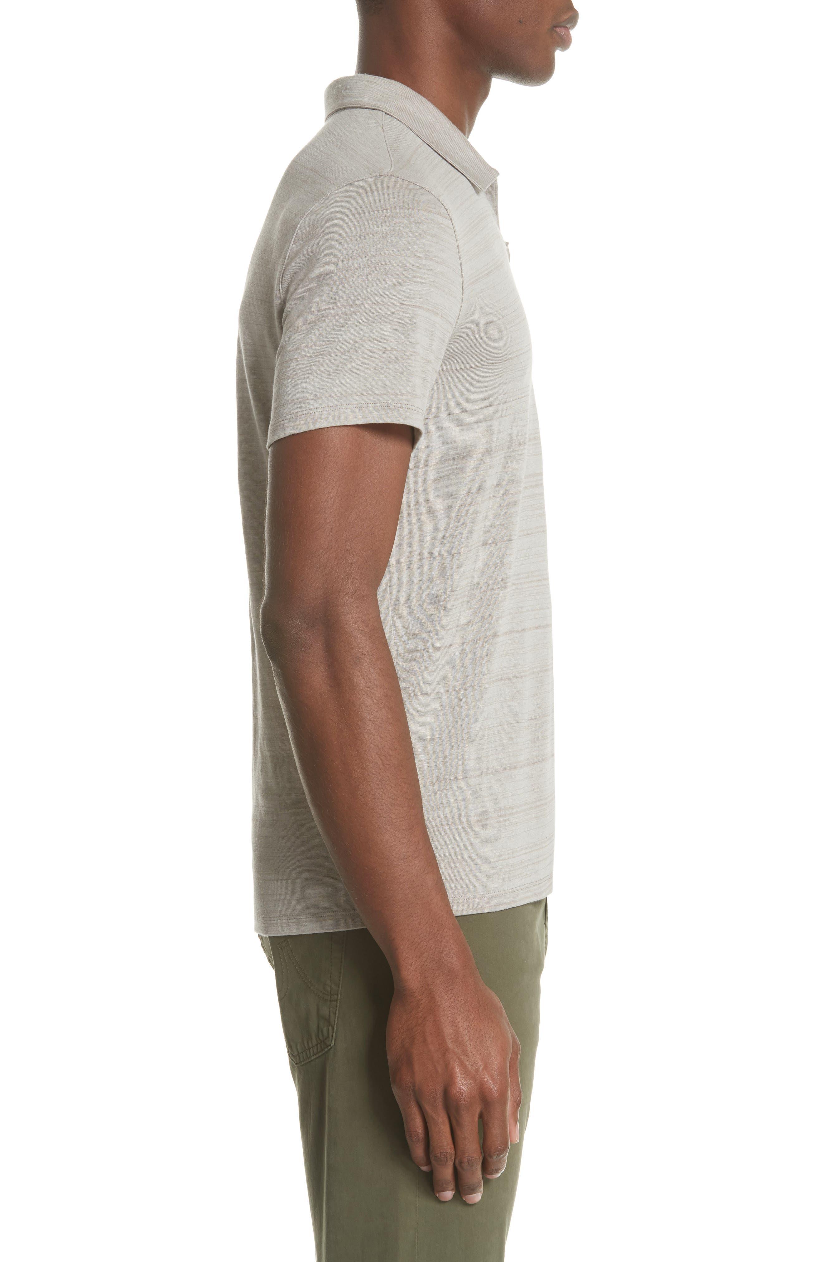 Stripe Zip Polo Shirt,                             Alternate thumbnail 3, color,                             WHEAT