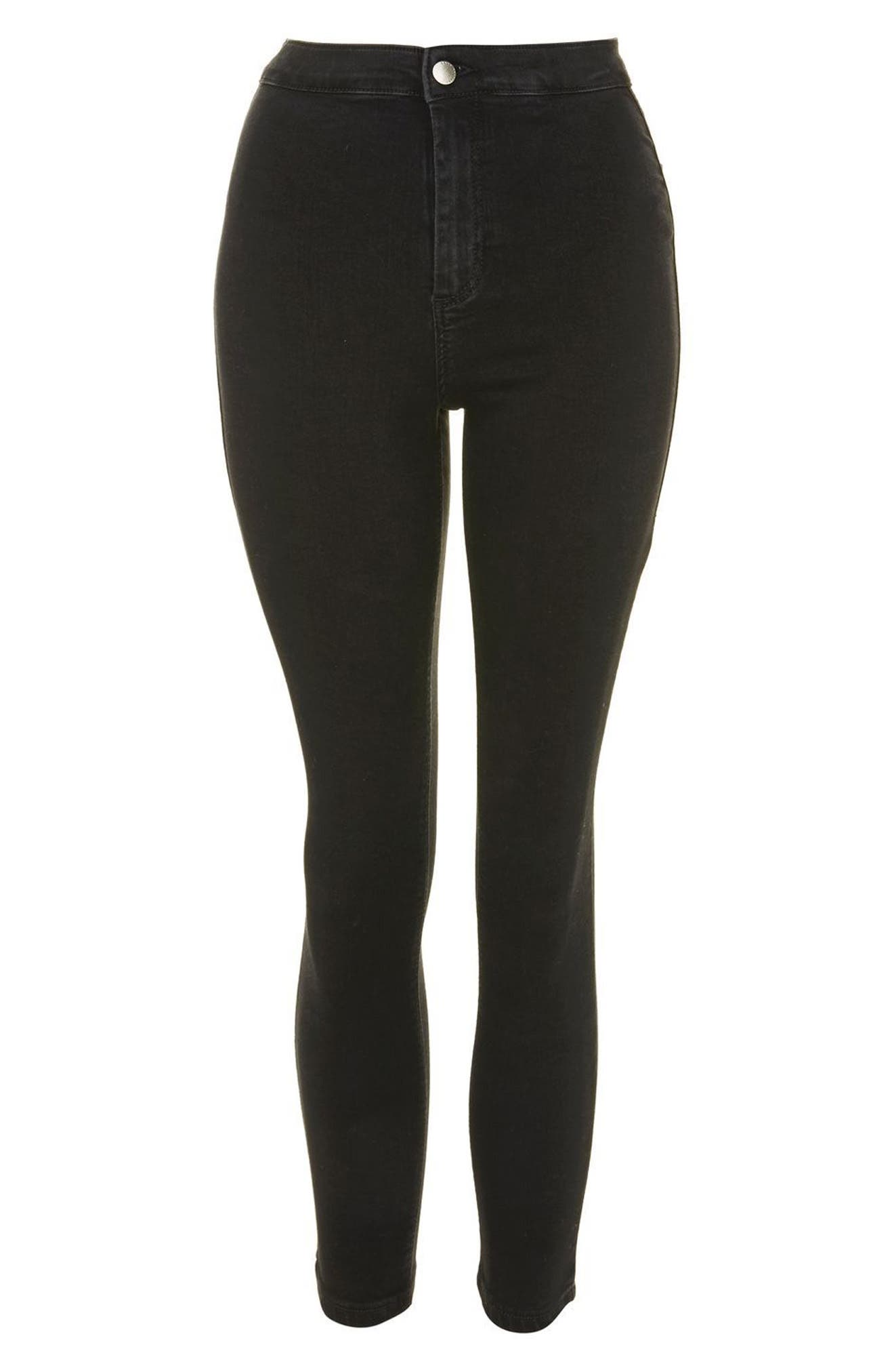 Joni High Waist Crop Skinny Jeans,                             Alternate thumbnail 3, color,                             BLACK