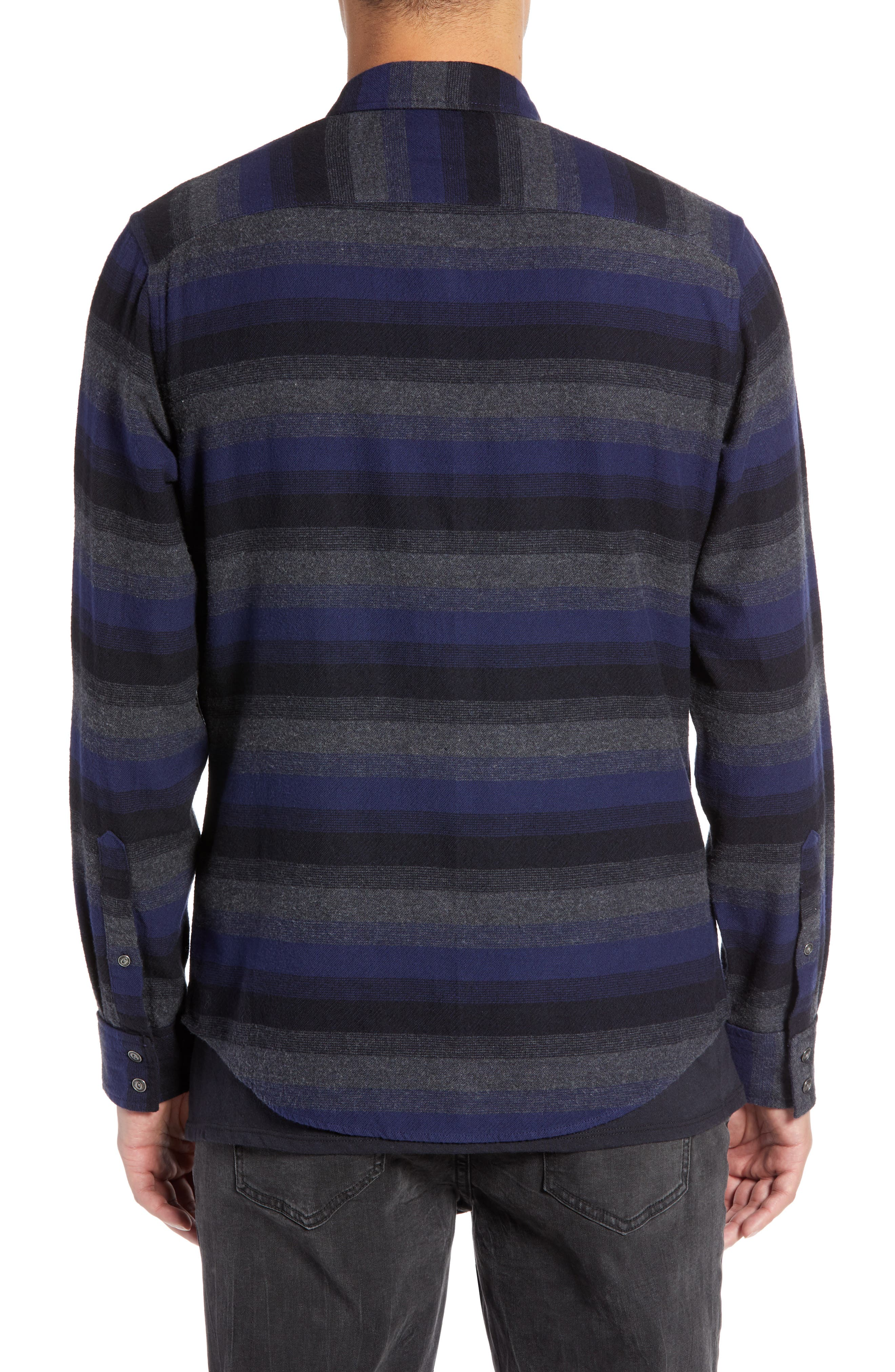 Regular Fit Ombré Sport Shirt,                             Alternate thumbnail 3, color,                             NAVY CHARCOAL OMBRE STRIPE