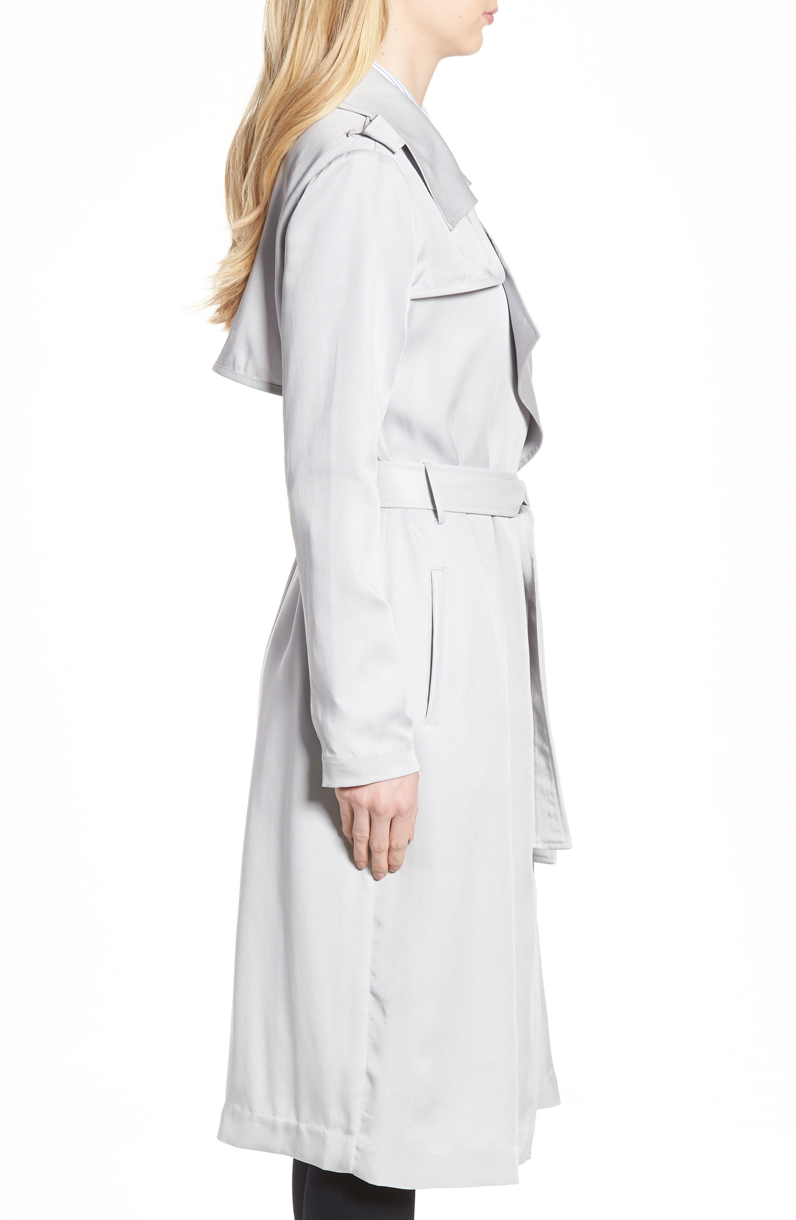 Badgley Mischka Faux Leather Trim Long Trench Coat,                             Alternate thumbnail 3, color,                             020