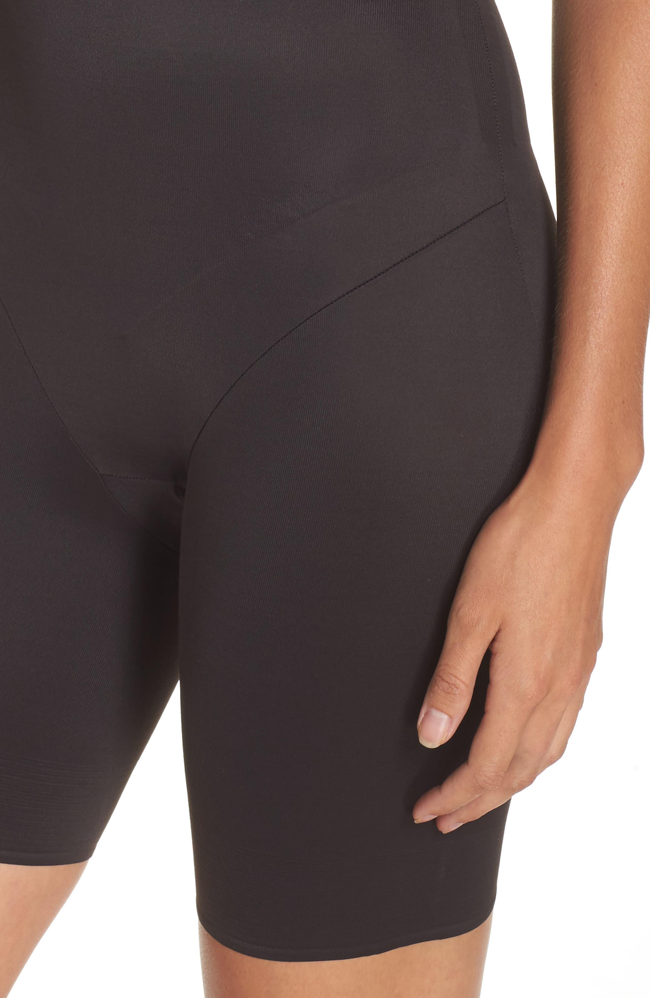 Torsette Underbust Mid Thigh Bodysuit Shaper,                             Alternate thumbnail 5, color,                             BLACK