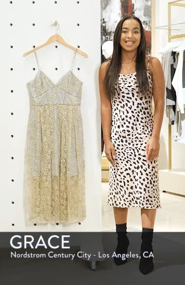 Metallic Floral Embroidery Chain Strap Dress, sales video thumbnail