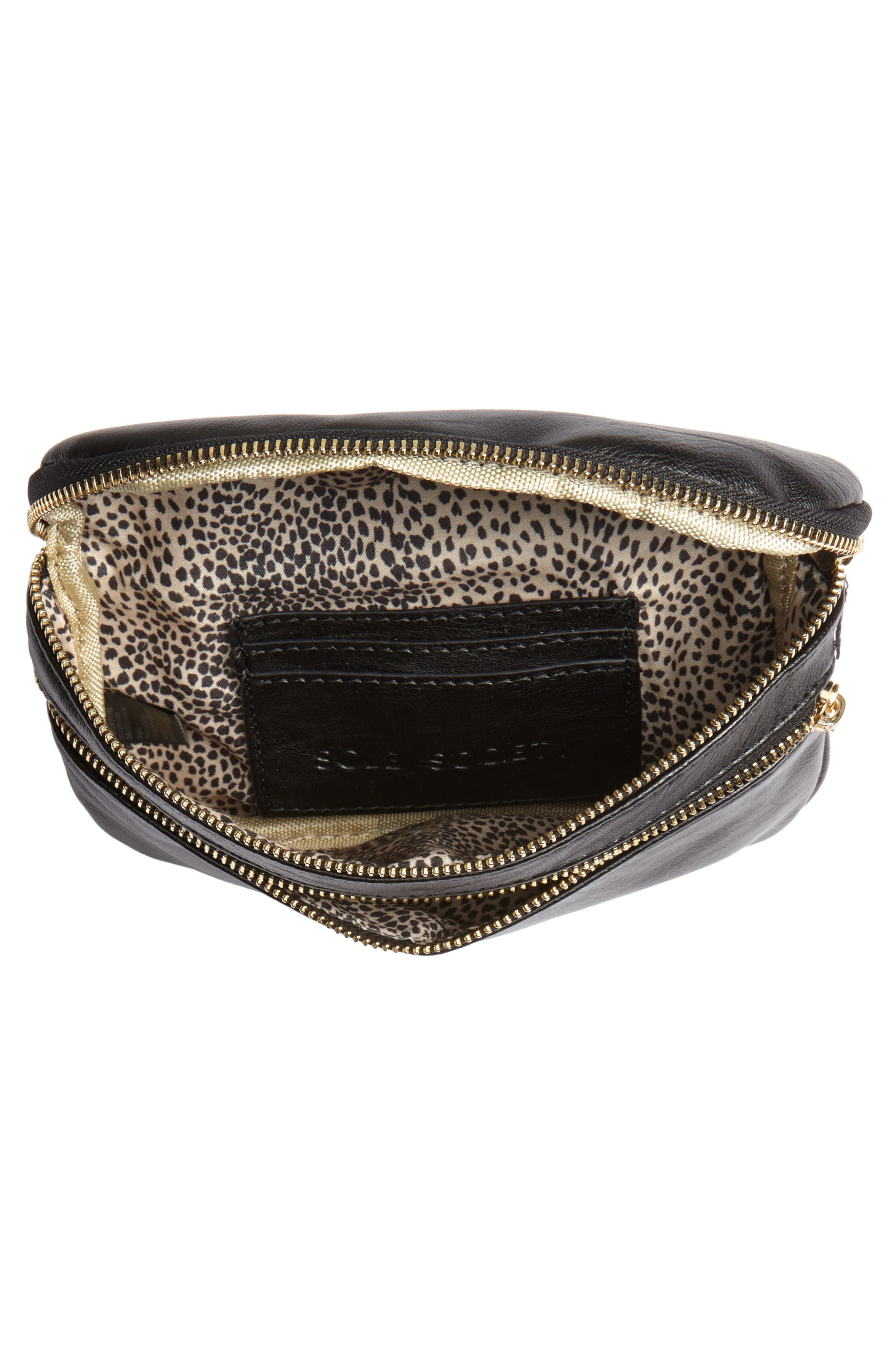 Cadee Faux Leather Belt Bag,                             Alternate thumbnail 5, color,                             BLACK