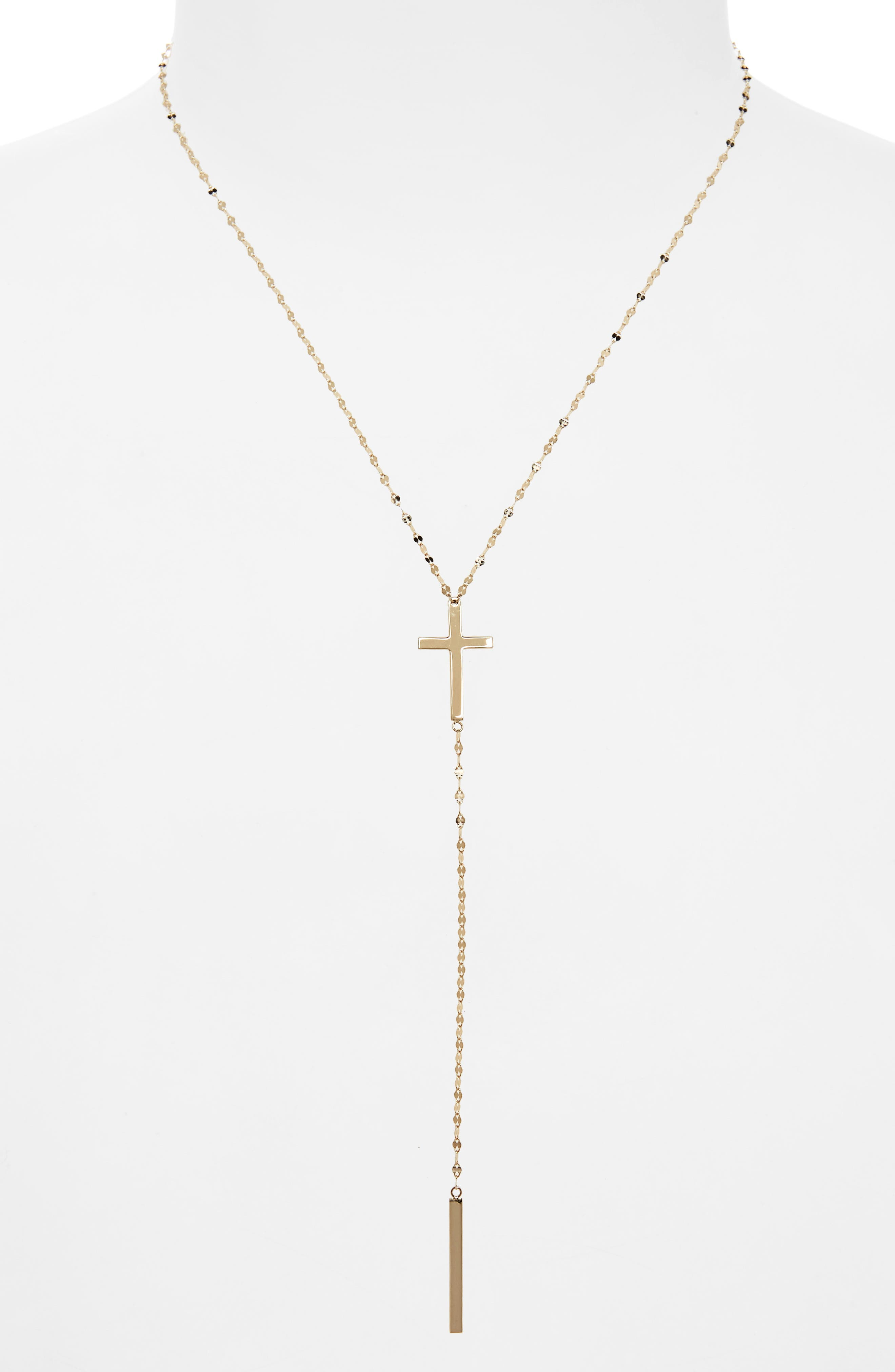 Bond Cross Y-Necklace,                         Main,                         color, YELLOW GOLD