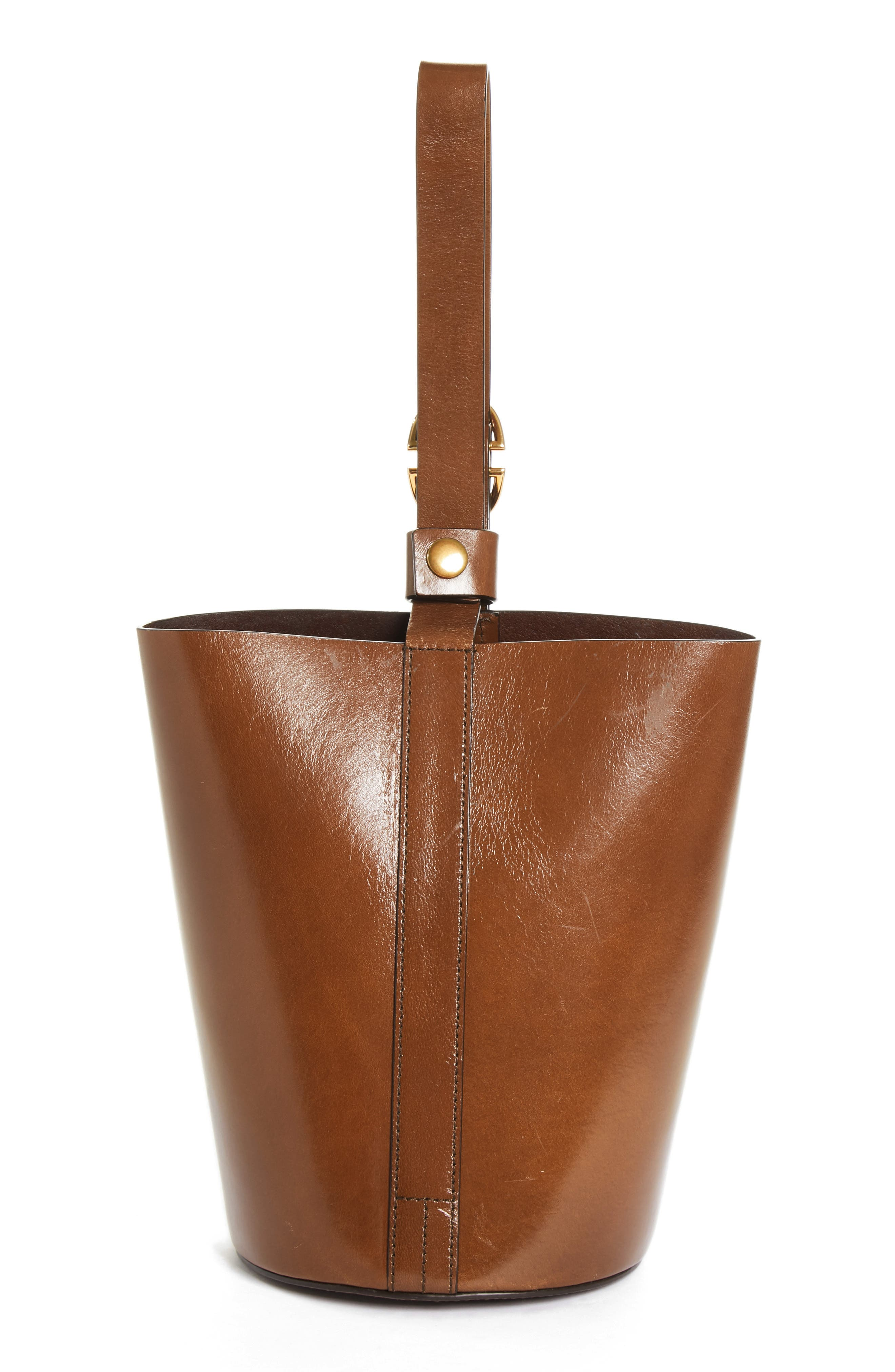 TRADEMARK,                             Small Leather Bucket Bag,                             Alternate thumbnail 3, color,                             201