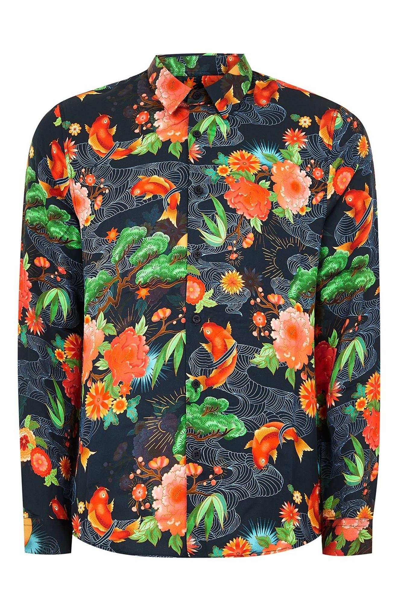 Classic Fit Floral Shirt,                             Alternate thumbnail 4, color,                             BLUE