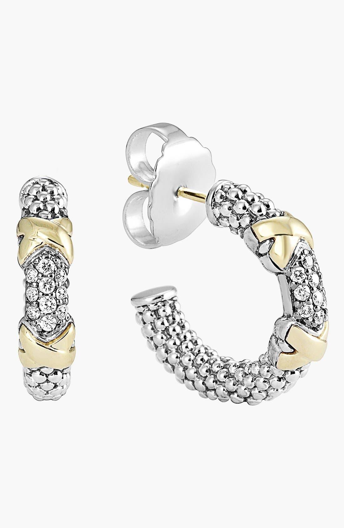 'Diamond Lux' Diamond Small Hoop Earrings,                             Alternate thumbnail 4, color,