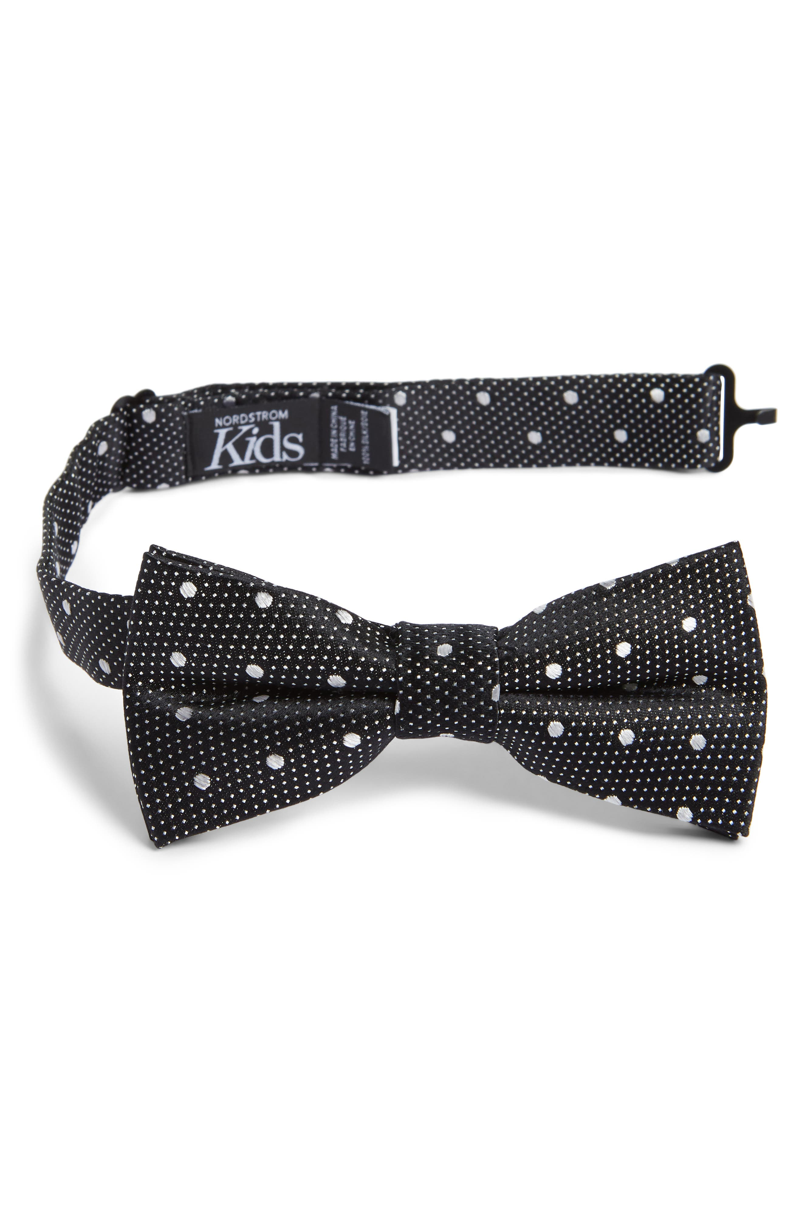 Piccolo Dot Silk Bow Tie,                         Main,                         color, 001
