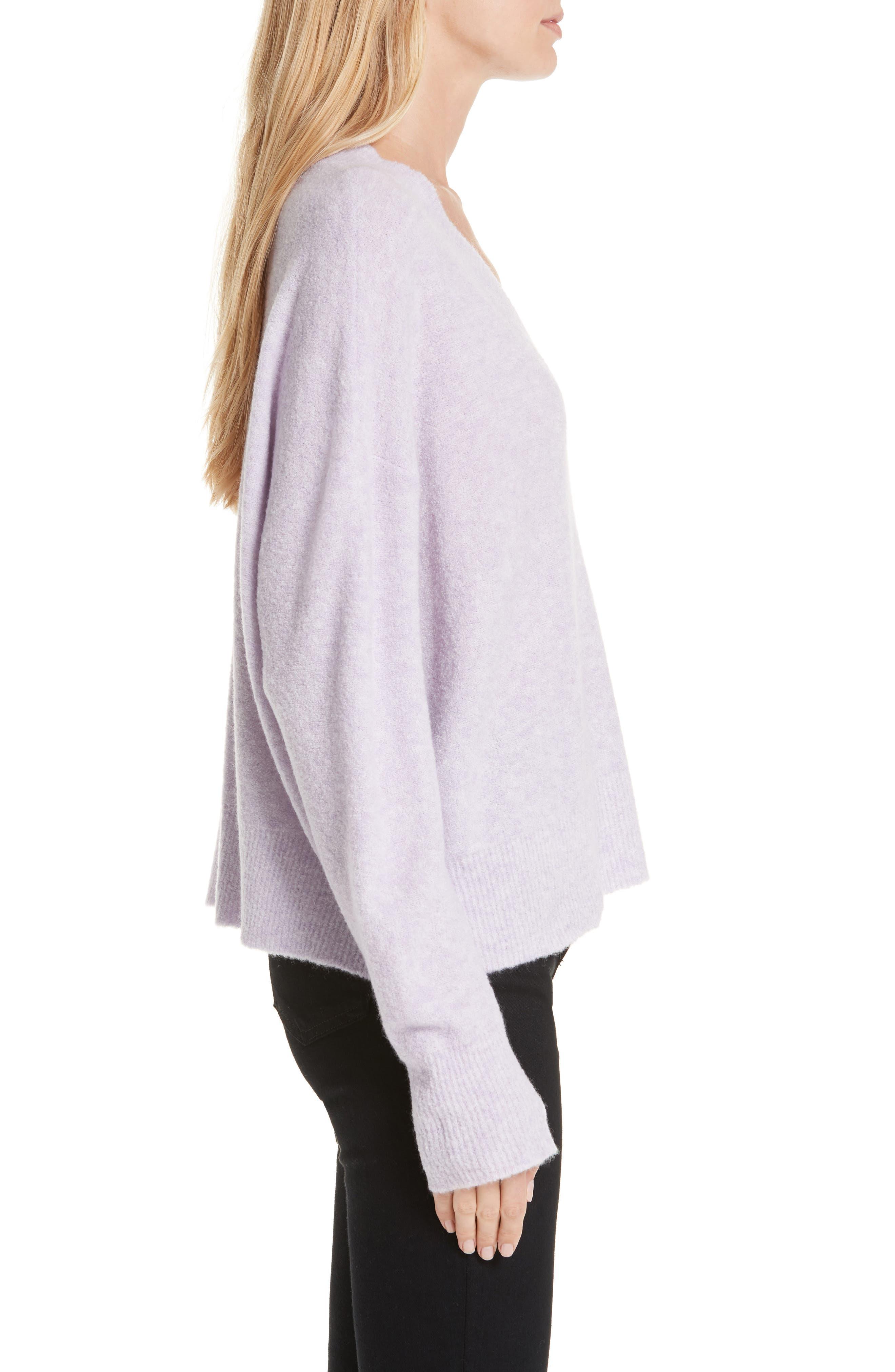 Cashmere Blend Bouclé Sweater,                             Alternate thumbnail 3, color,                             PURPLE HEIRLOOM HEATHER