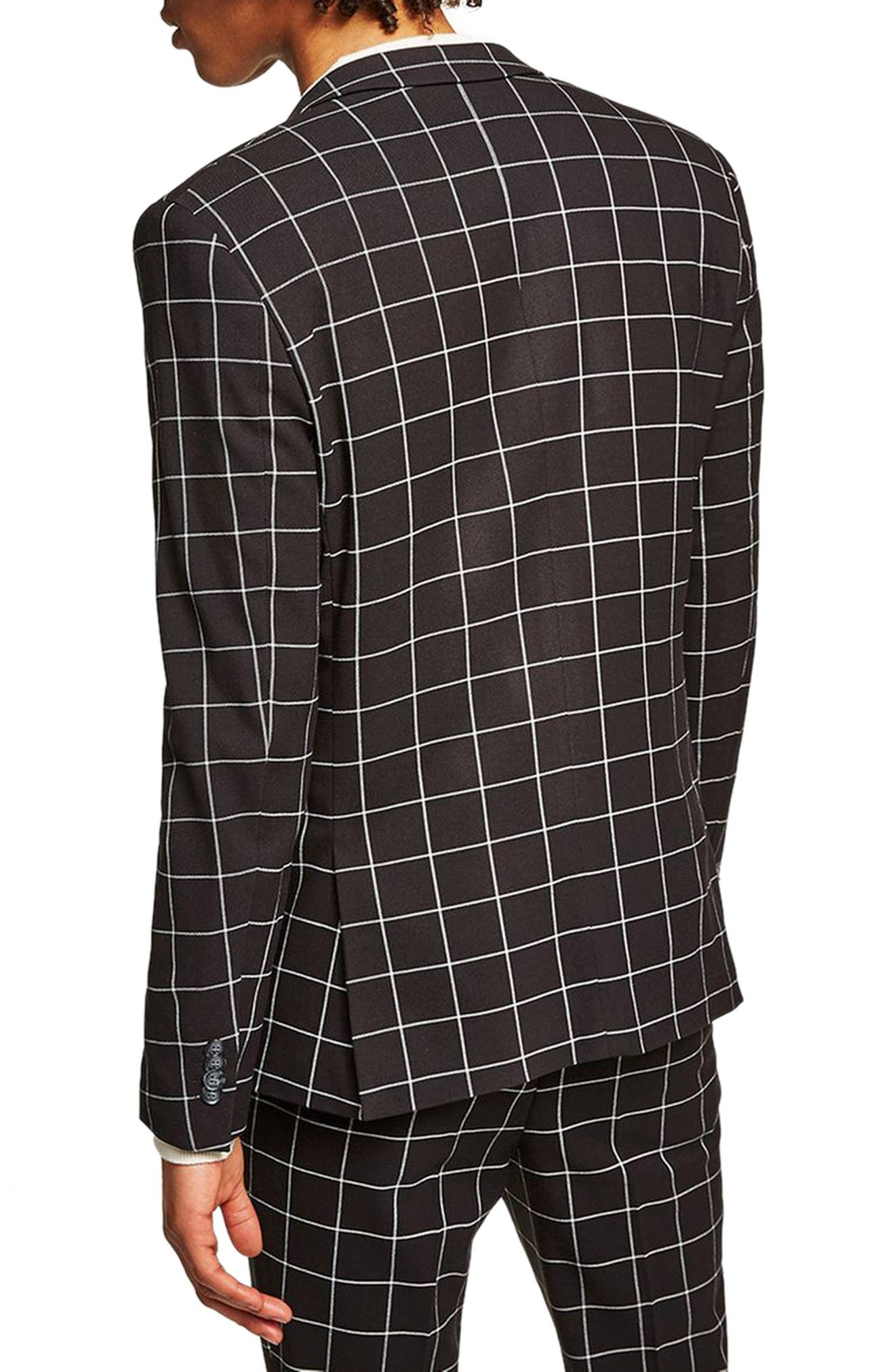 Skinny Fit Windowpane Suit Jacket,                             Alternate thumbnail 2, color,                             BLACK MULTI
