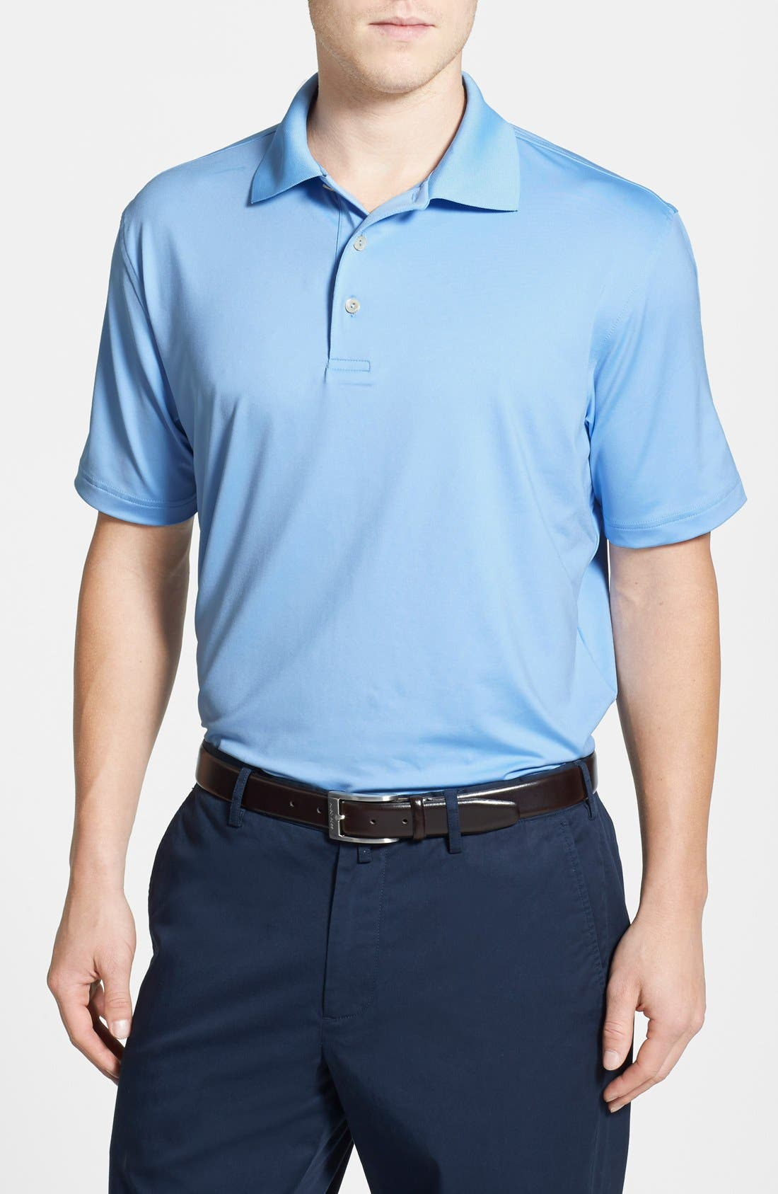Moisture Wicking Stretch Jersey Polo,                         Main,                         color, COTTAGE BLUE