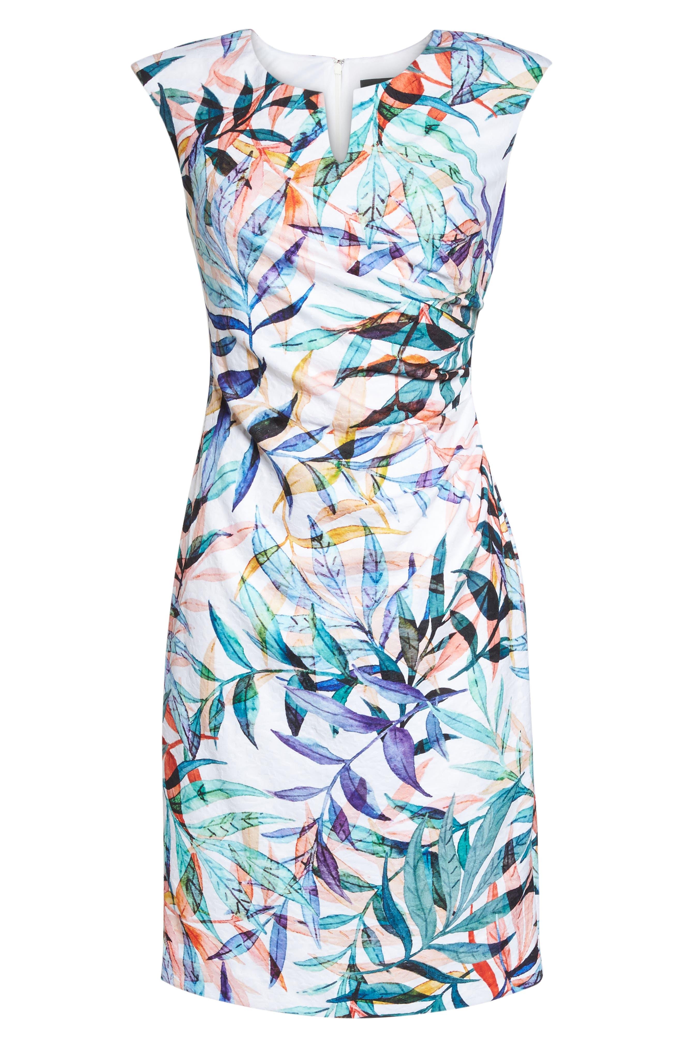 Watercolor Leaves Sheath Dress,                             Alternate thumbnail 6, color,                             900