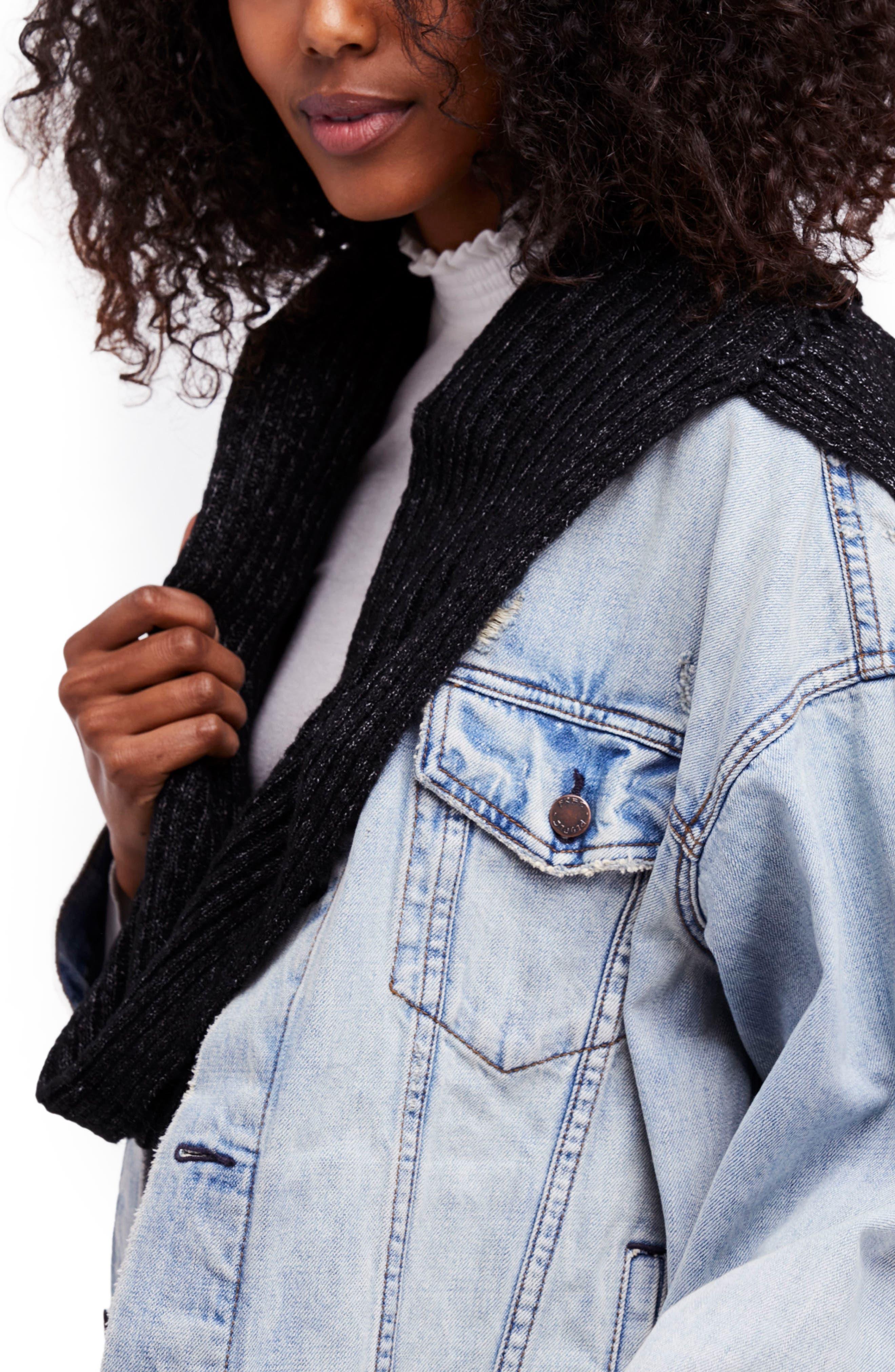 Bottom Line Hooded Rib Knit Wrap,                             Alternate thumbnail 5, color,                             001