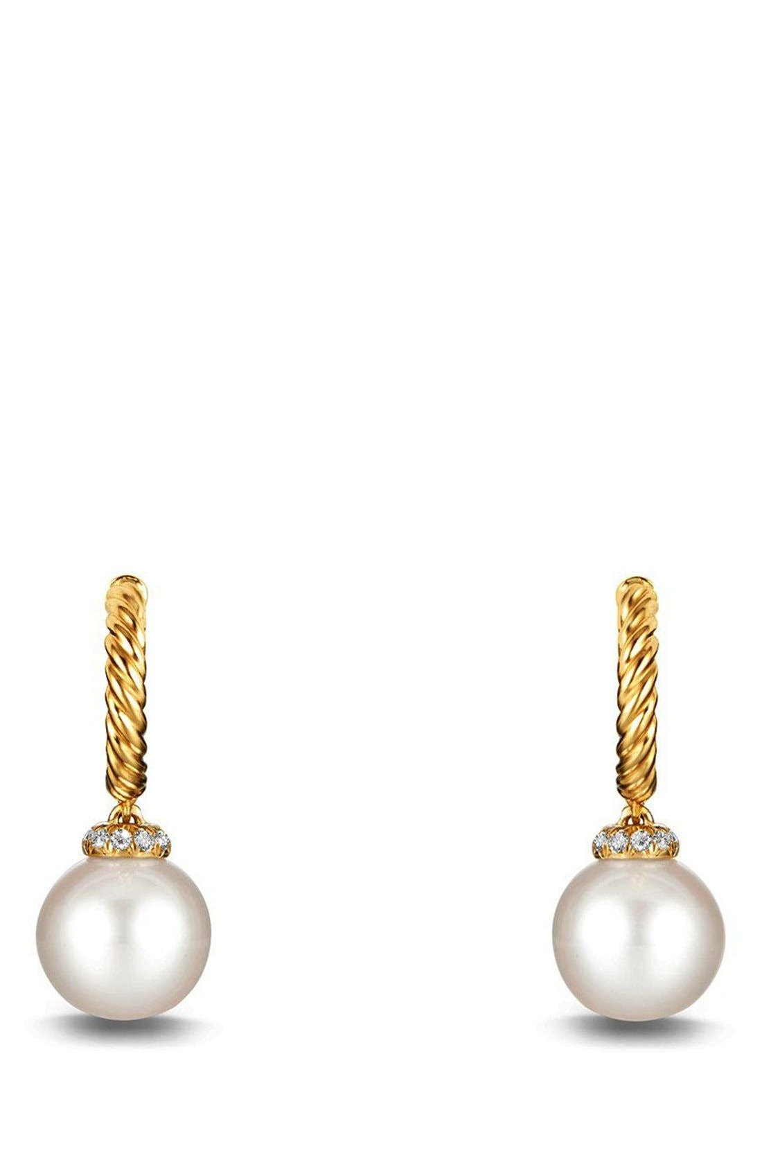 'Solari' Hoop Earring with Diamonds and Pearls in 18K Gold, Main, color, PEARL