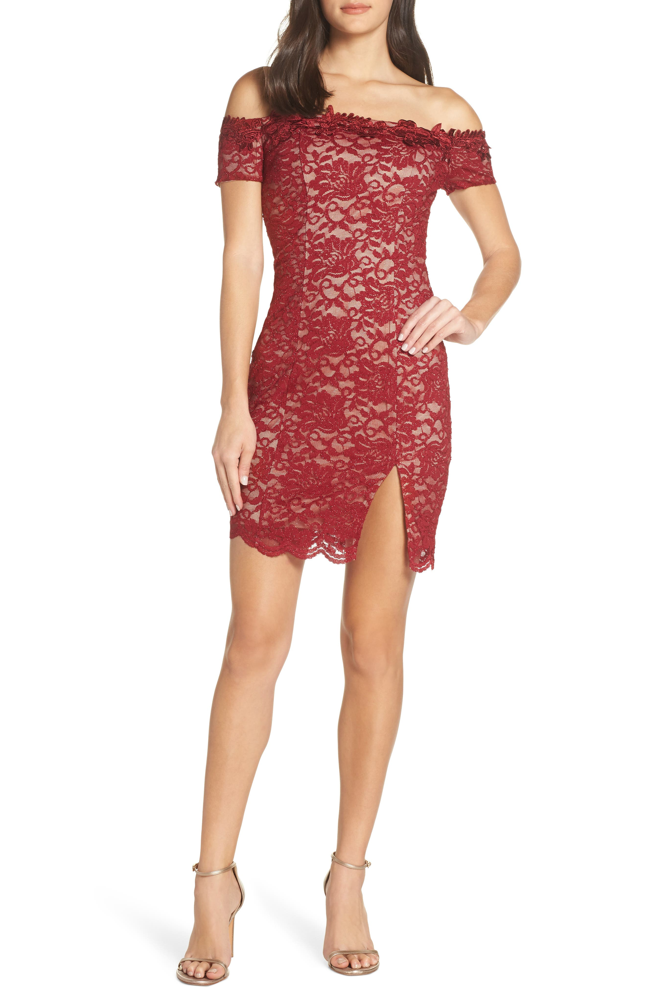 Off the Shoulder Glitter Lace Sheath,                             Main thumbnail 1, color,                             WINE/ NUDE