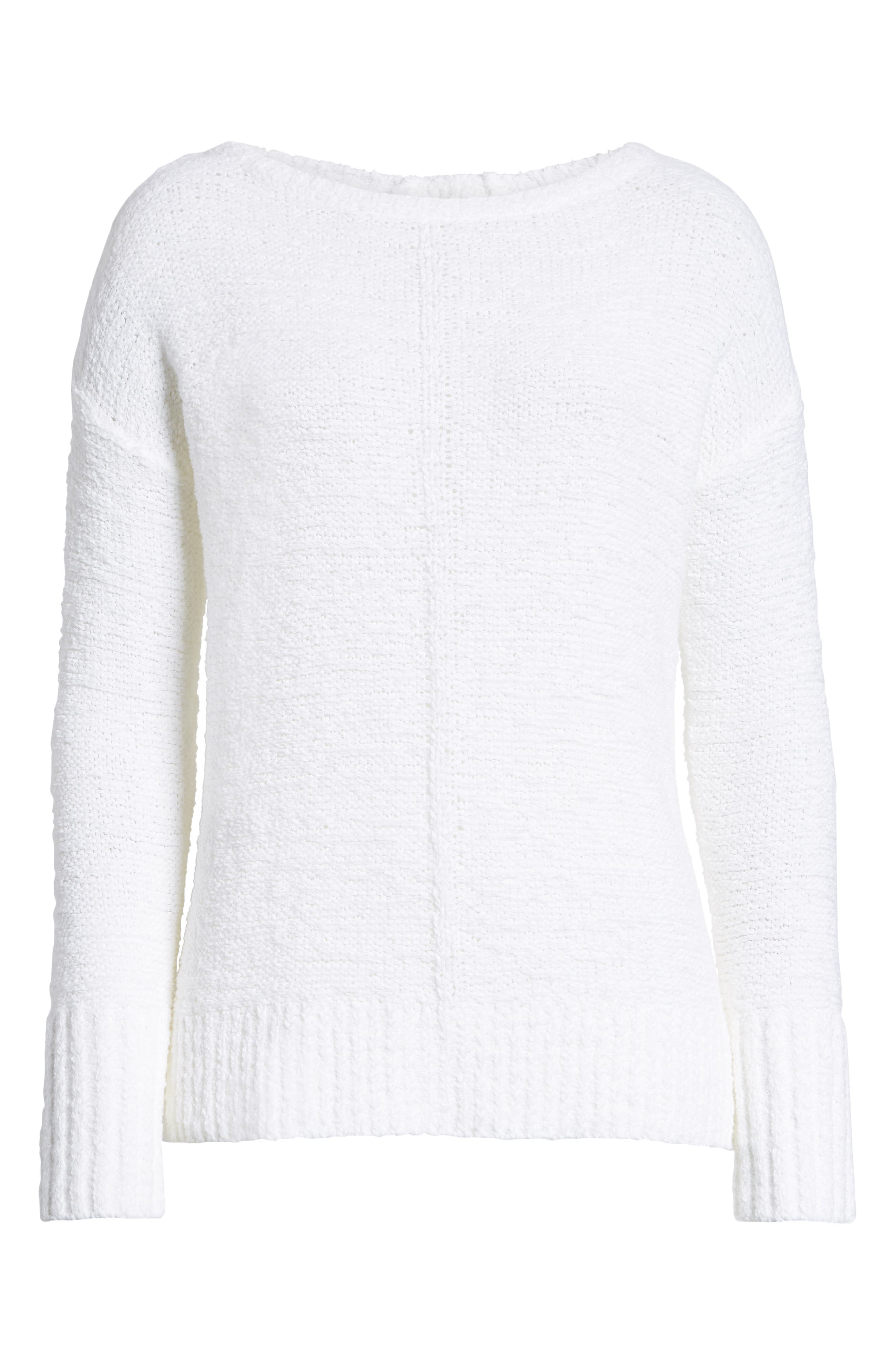 Button Back Sweater,                             Alternate thumbnail 6, color,                             WHITE