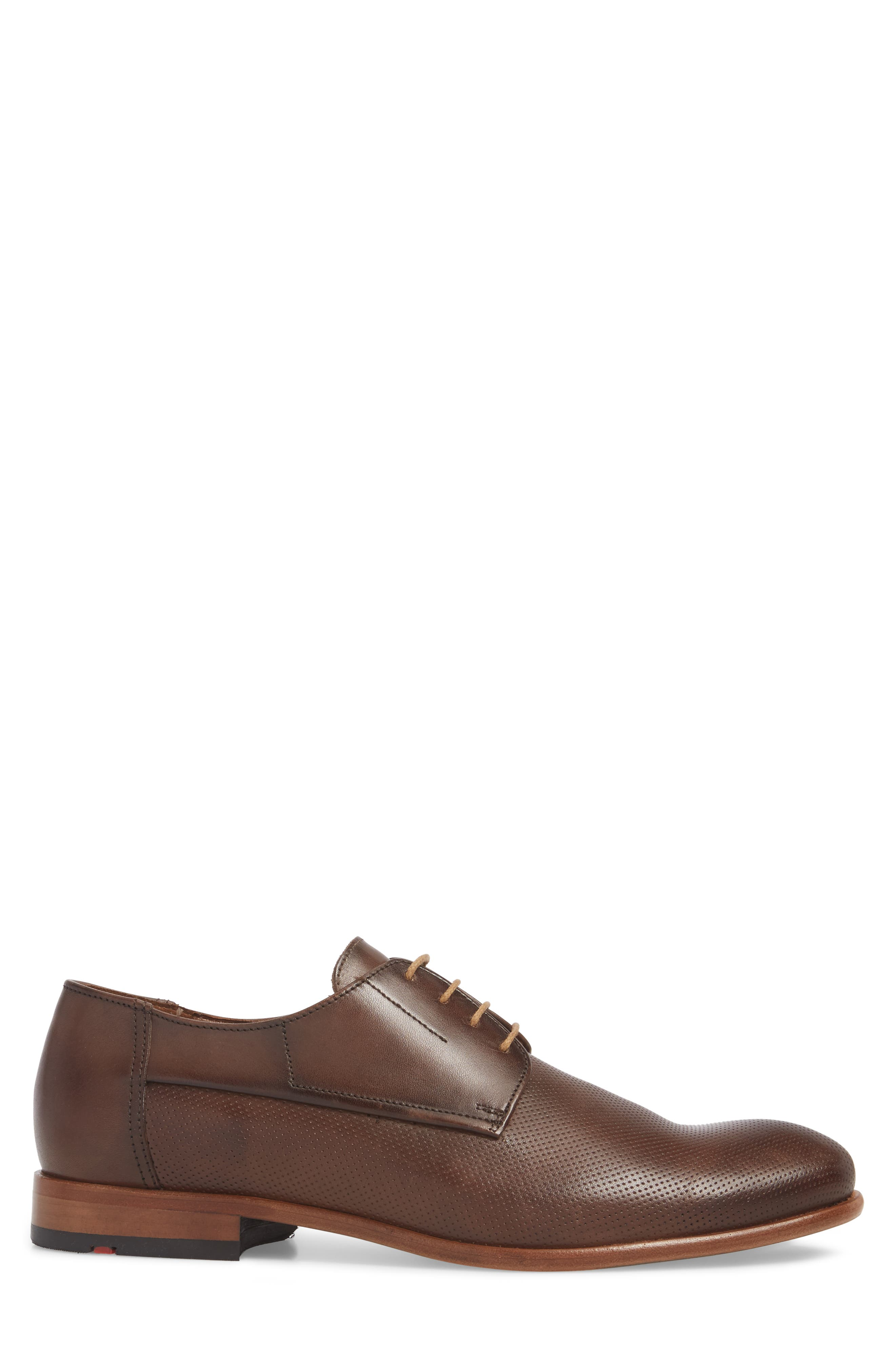 Napir Embossed Plain Toe Derby,                             Alternate thumbnail 3, color,                             CIGAR LEATHER